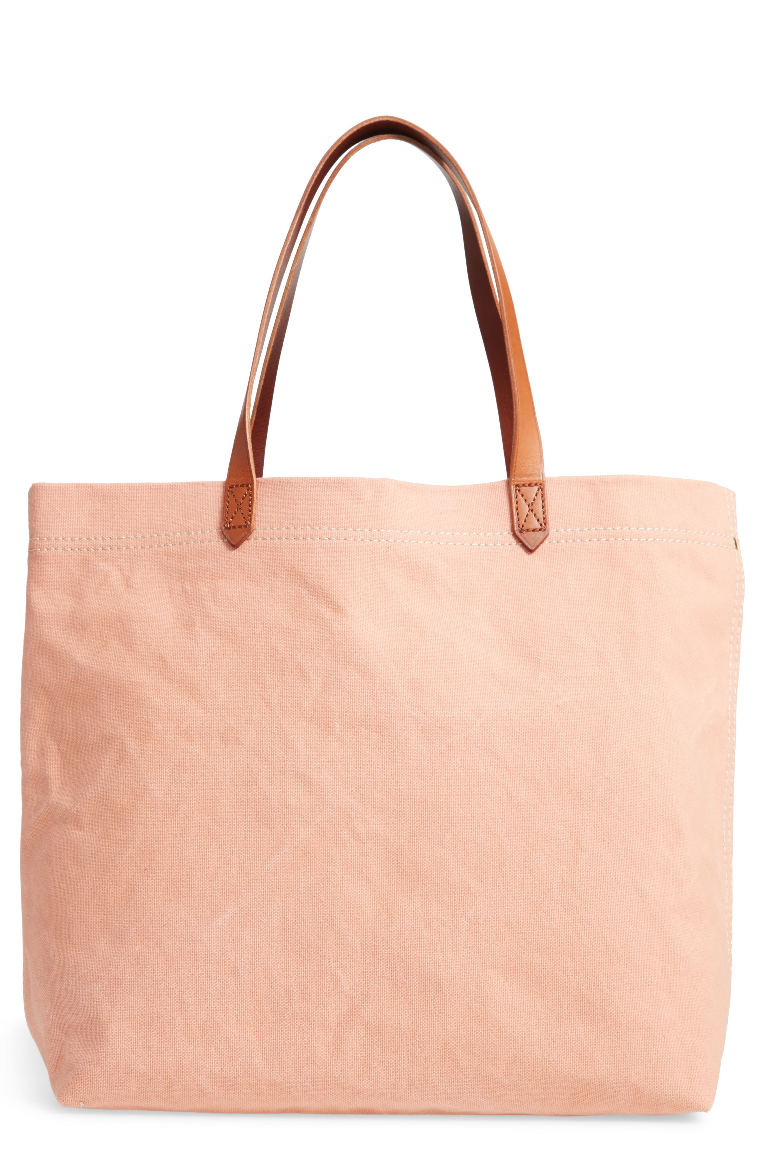 MADEWELL Canvas Transport Tote, Main, color, ANTIQUE CORAL