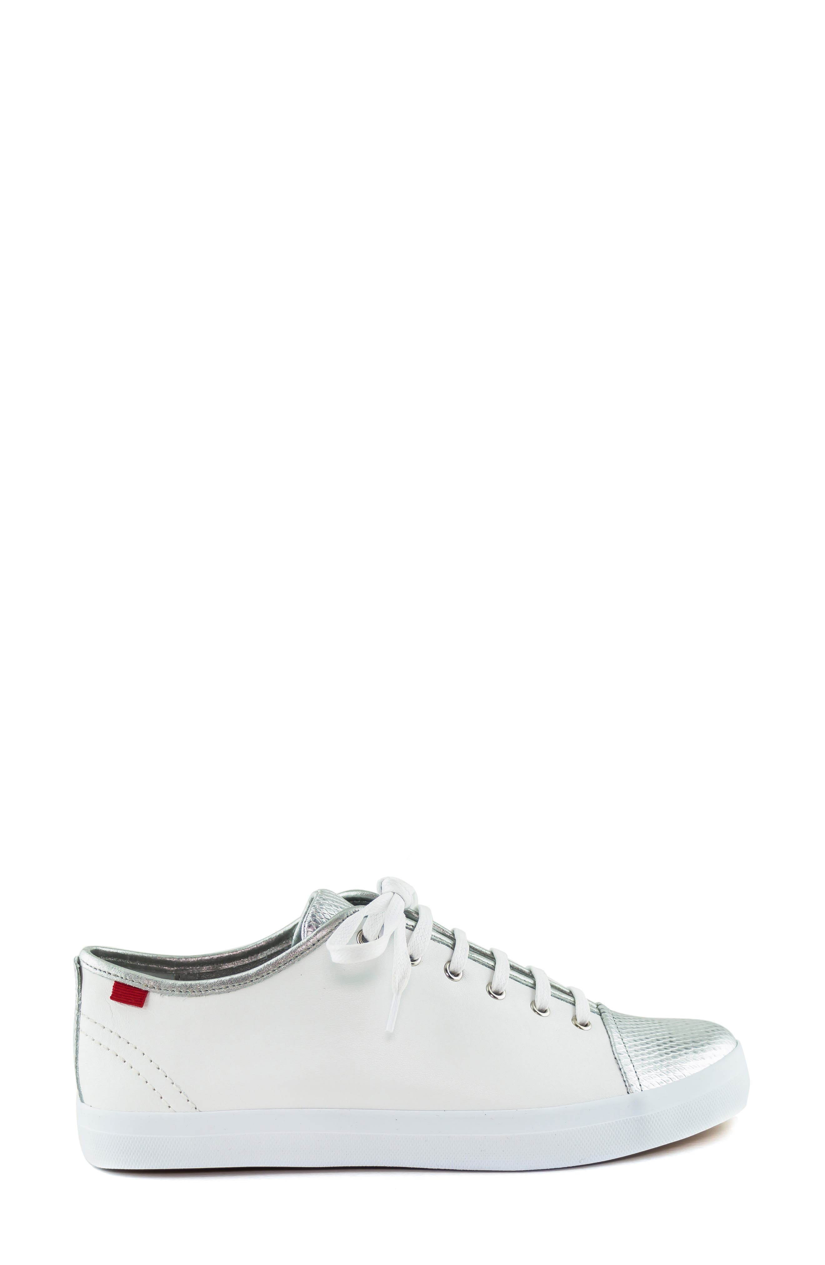 MARC JOSEPH NEW YORK, Bleecker Street Sneaker, Alternate thumbnail 3, color, WHITE/ GIPSY SILVER LEATHER