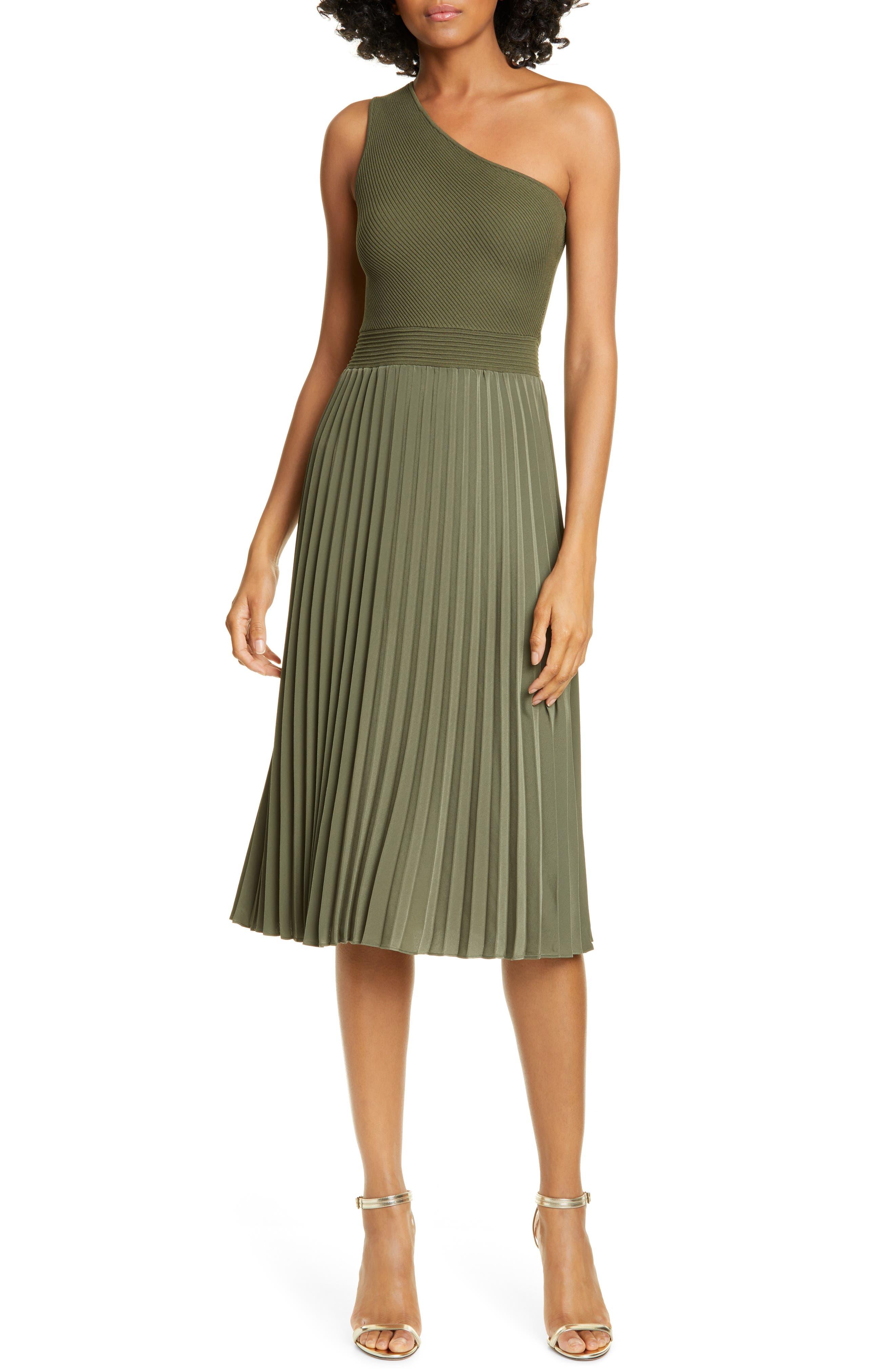 Ted Baker London Miriom Mixed Media One-Shoulder Dress, Beige