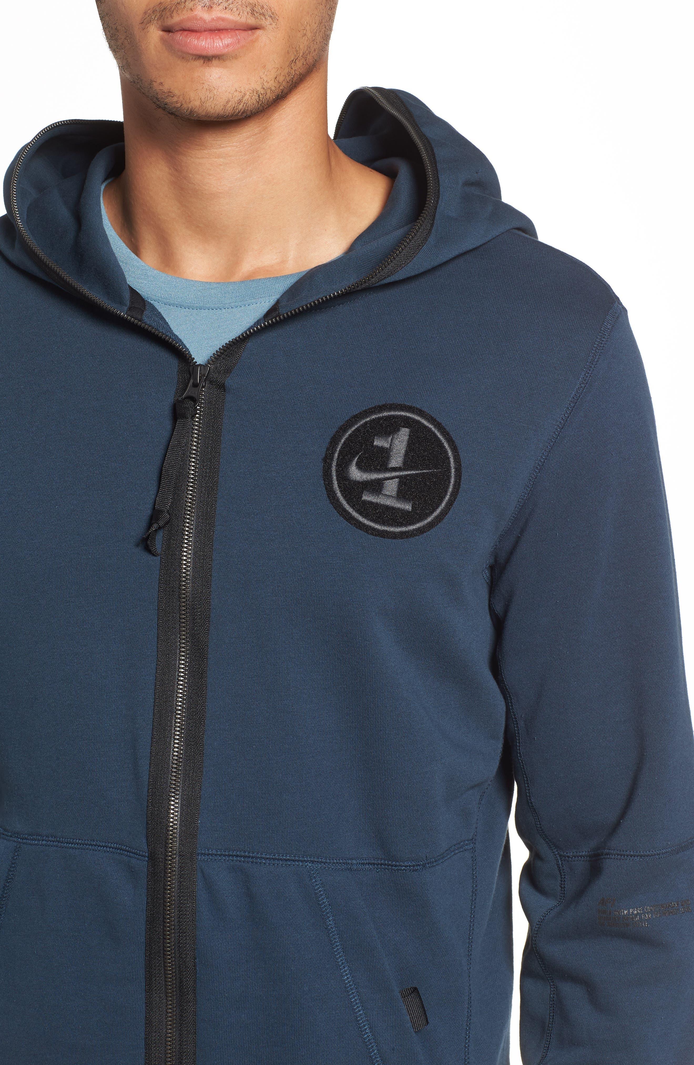 NIKE, Air Force One Zip Hoodie Jacket, Alternate thumbnail 5, color, ARMORY NAVY/ BLACK