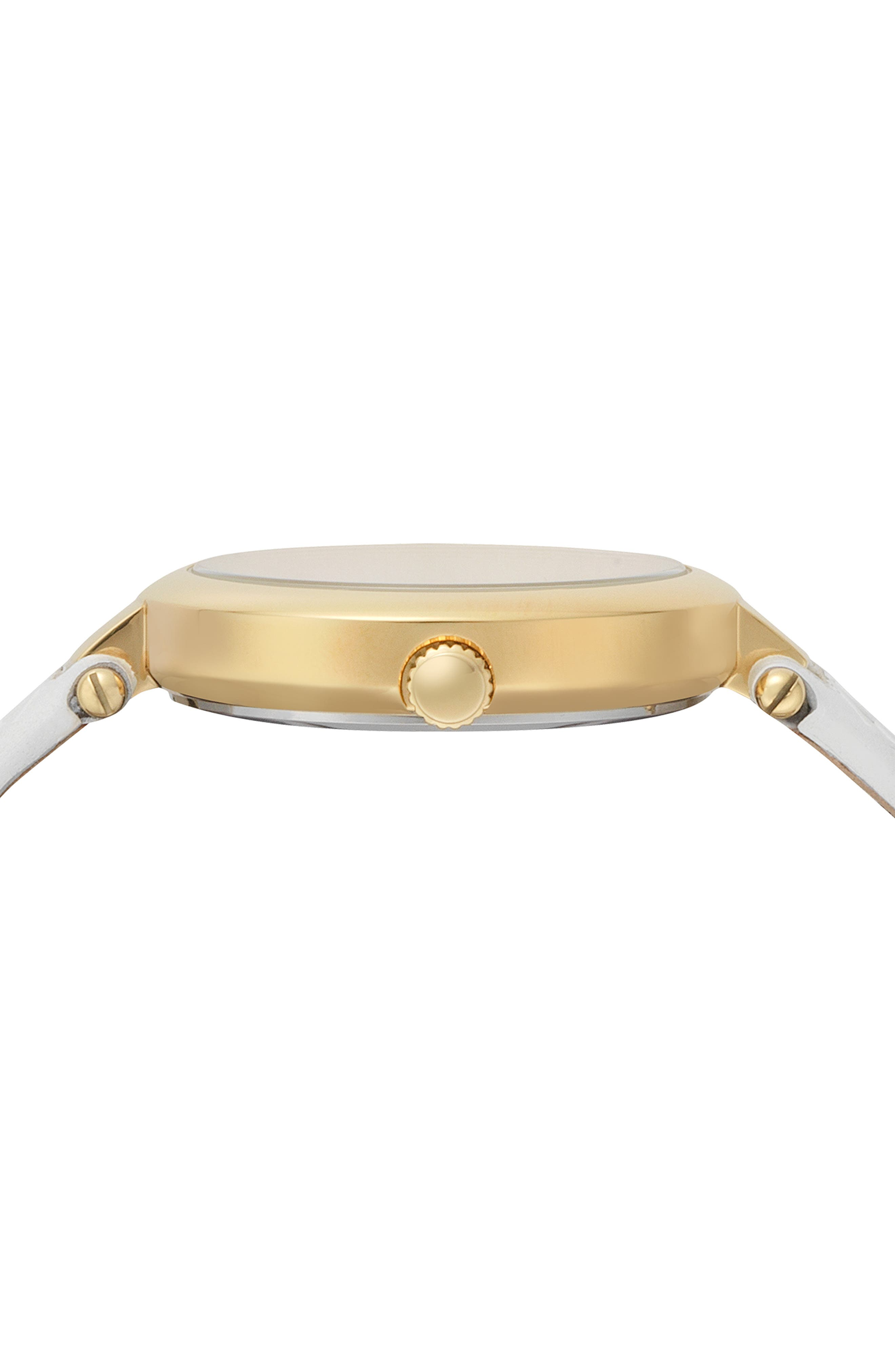 VERSUS VERSACE, Buffle Bay Leather Strap Watch, 36mm, Alternate thumbnail 2, color, WHITE/ GOLD