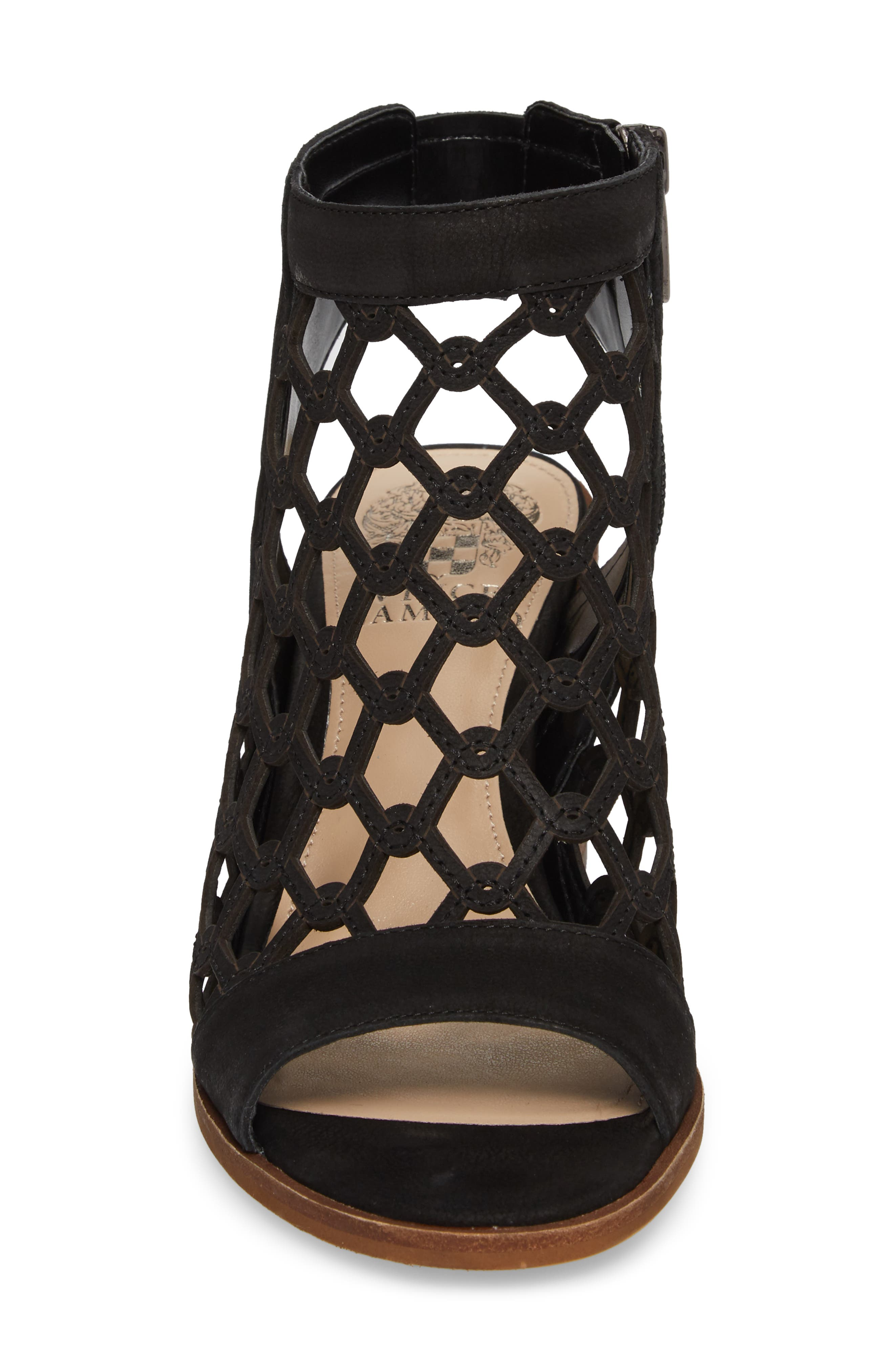 VINCE CAMUTO, Lanaira Sandal, Alternate thumbnail 4, color, BLACK LEATHER