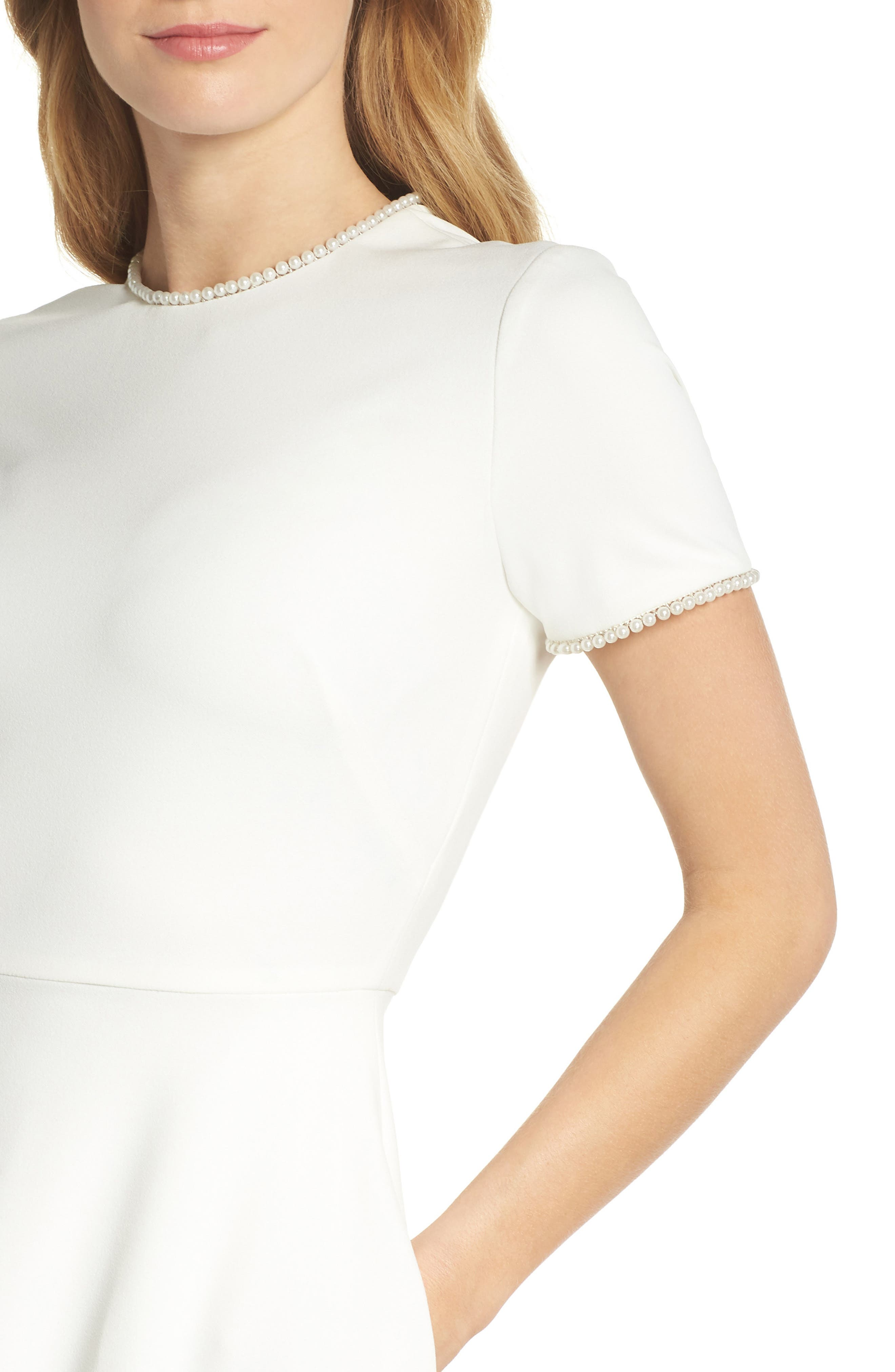 GAL MEETS GLAM COLLECTION, Victoria Pearly Trim Fit & Flare Dress, Alternate thumbnail 5, color, CREME