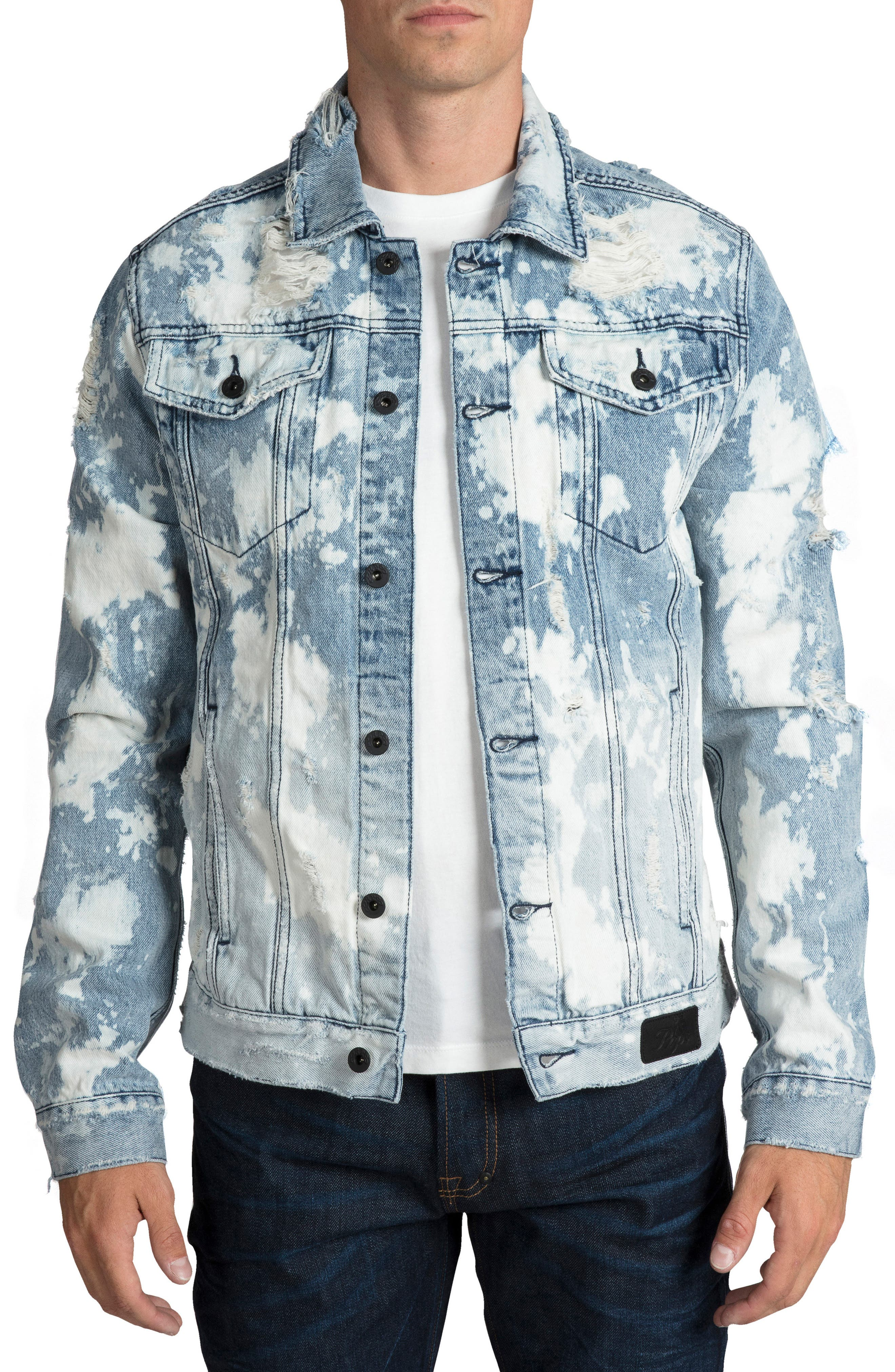 PRPS City Scapes Ripped Denim Jacket, Main, color, GUILTLESS