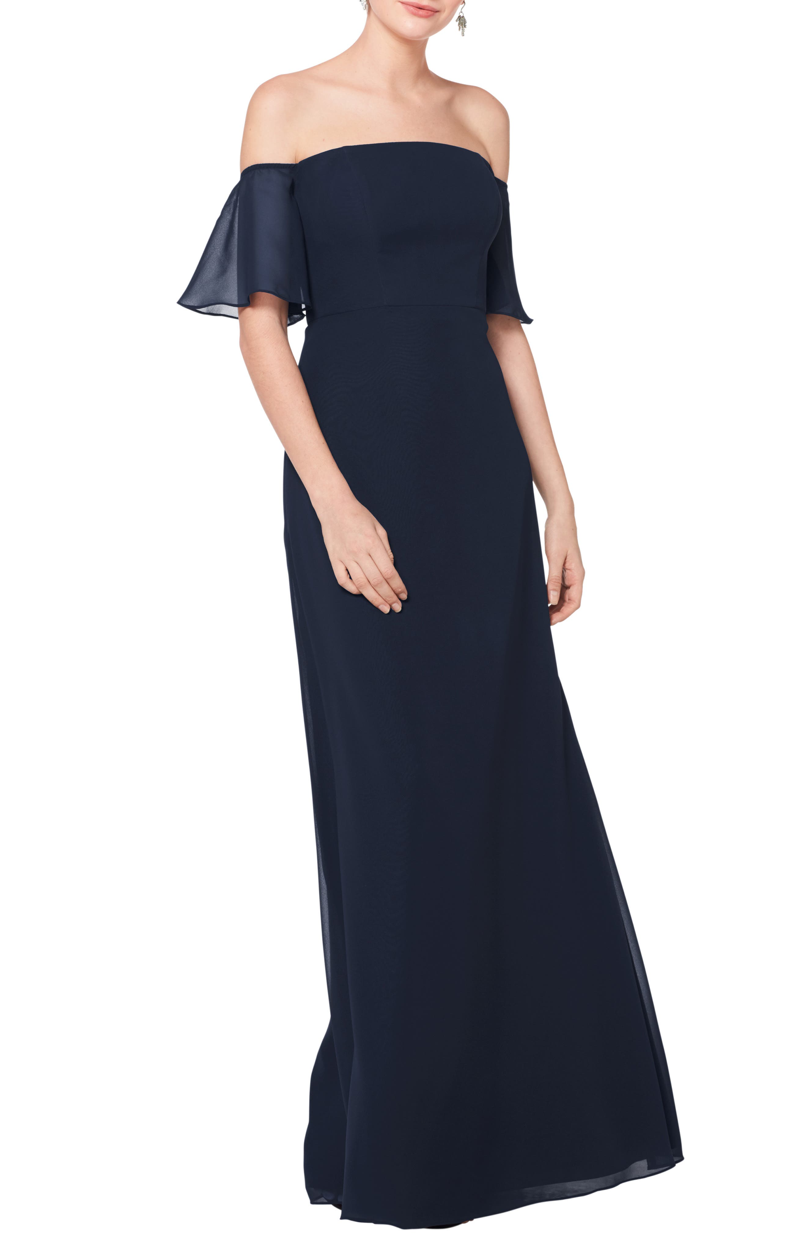 #LEVKOFF, Off the Shoulder Fluted Sleeve Chiffon Gown, Main thumbnail 1, color, NAVY