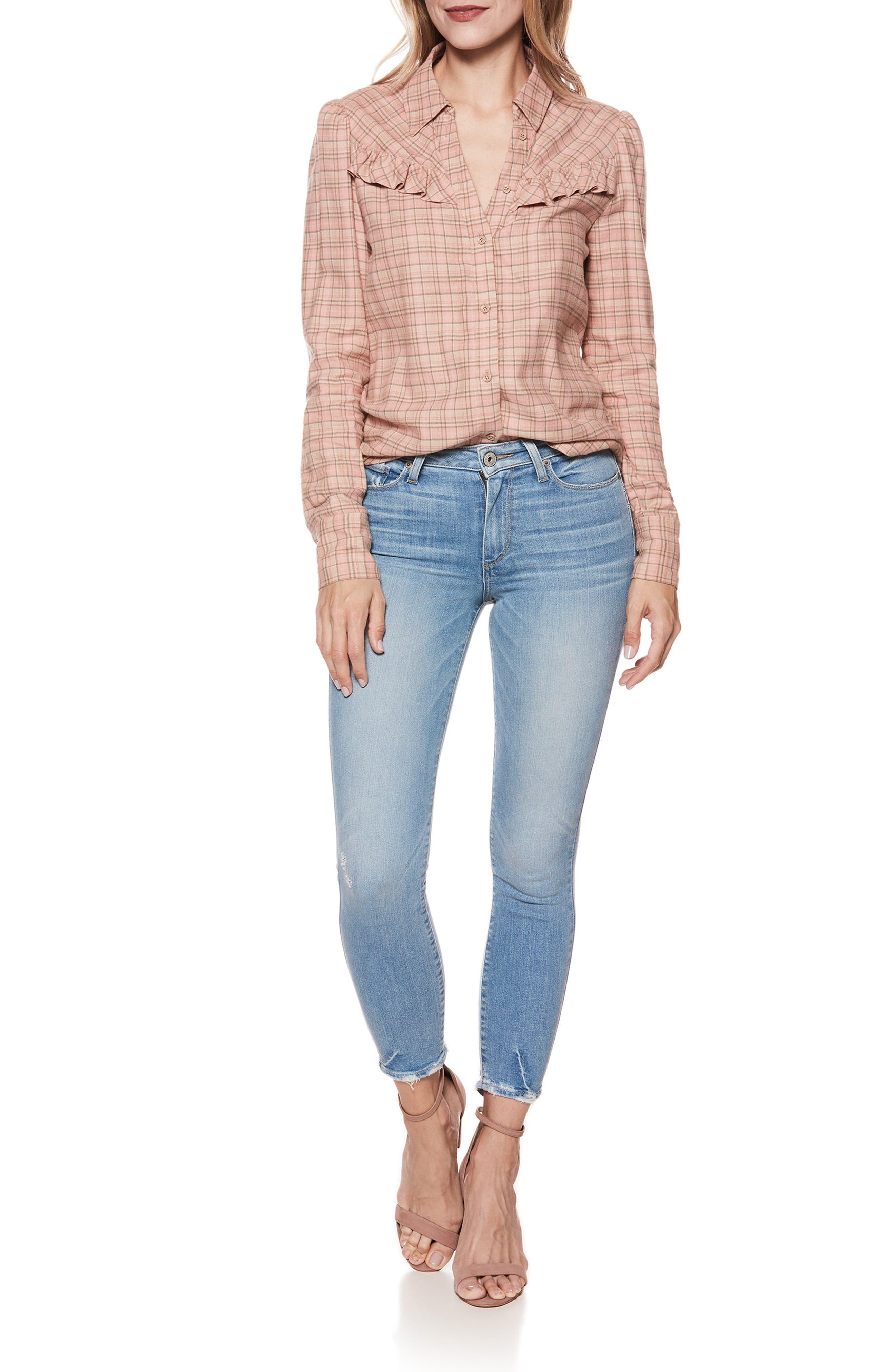 PAIGE, Hoxton Transcend Vintage High Waist Crop Skinny Jeans, Alternate thumbnail 8, color, ATTERBURY W/ TORN BACK HEM