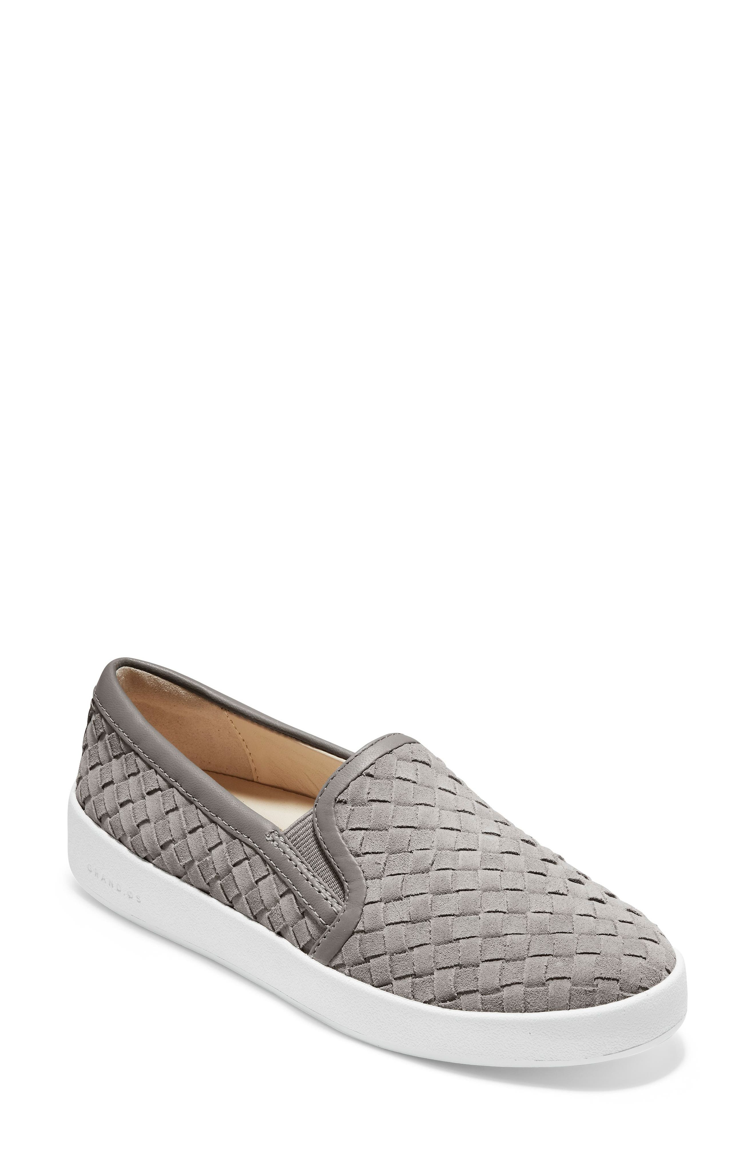 COLE HAAN, GrandPro Woven Slip-On Sneaker, Main thumbnail 1, color, IRONSTONE WOVEN SUEDE