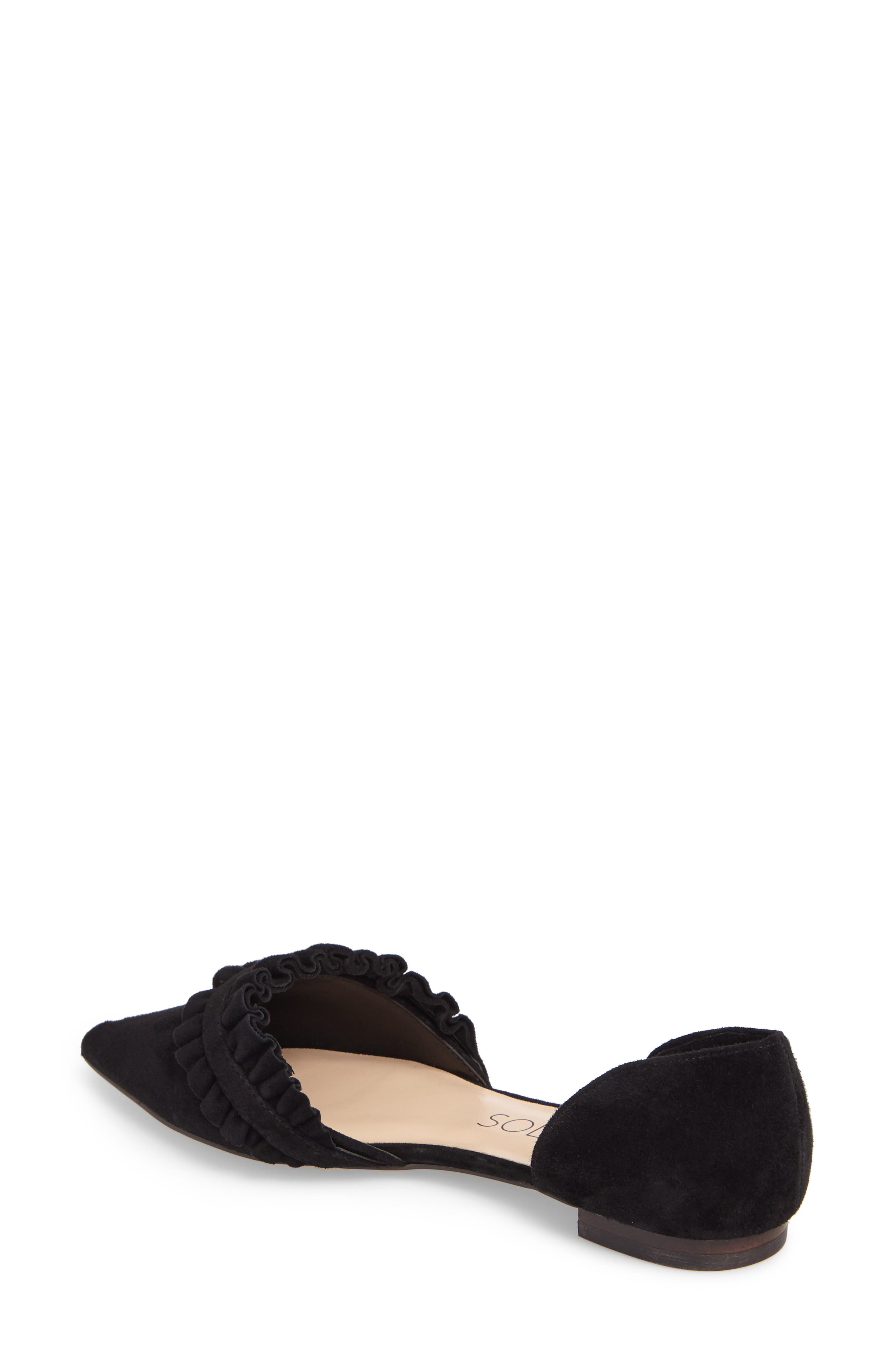 SOLE SOCIETY, Rosalind Ruffle d'Orsay Flat, Alternate thumbnail 2, color, 001