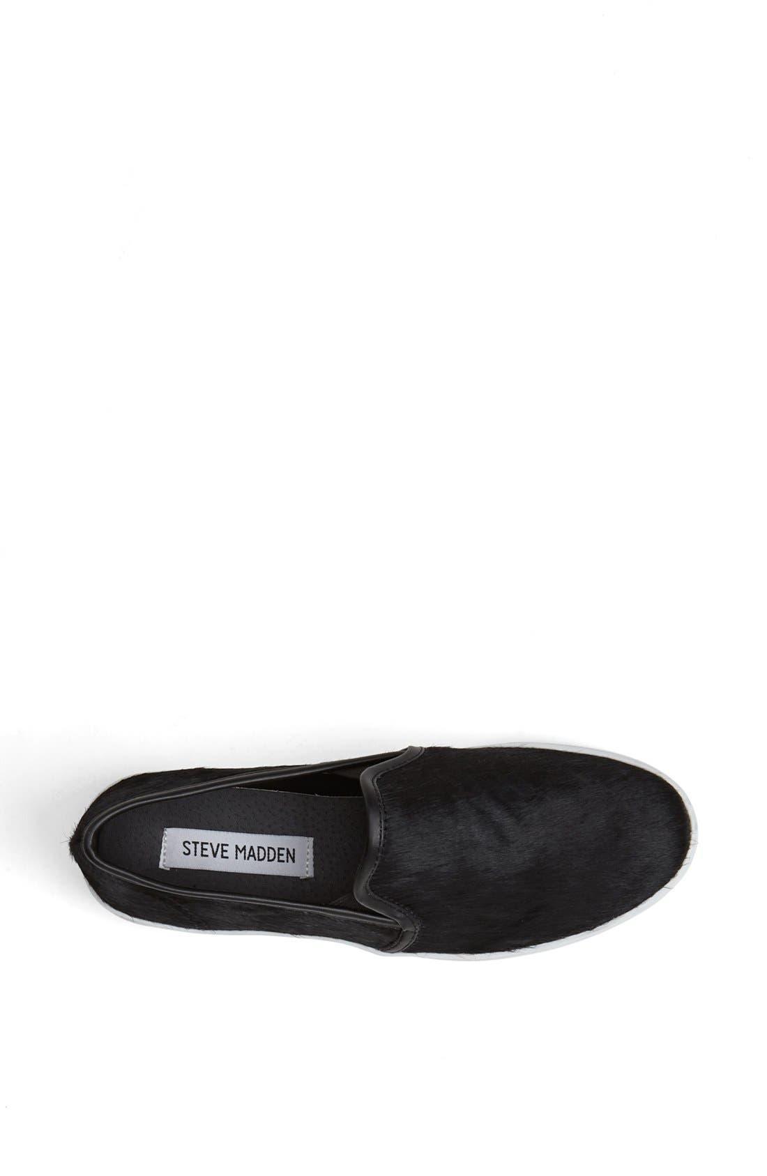 STEVE MADDEN, 'Finale - P' Calf Hair Sneaker, Alternate thumbnail 3, color, 001