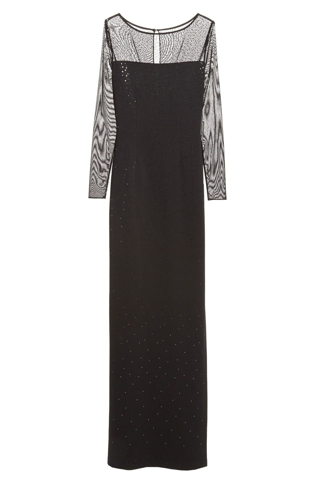 ST. JOHN COLLECTION, Embellished Shimmer Milano Knit Gown, Alternate thumbnail 2, color, 001