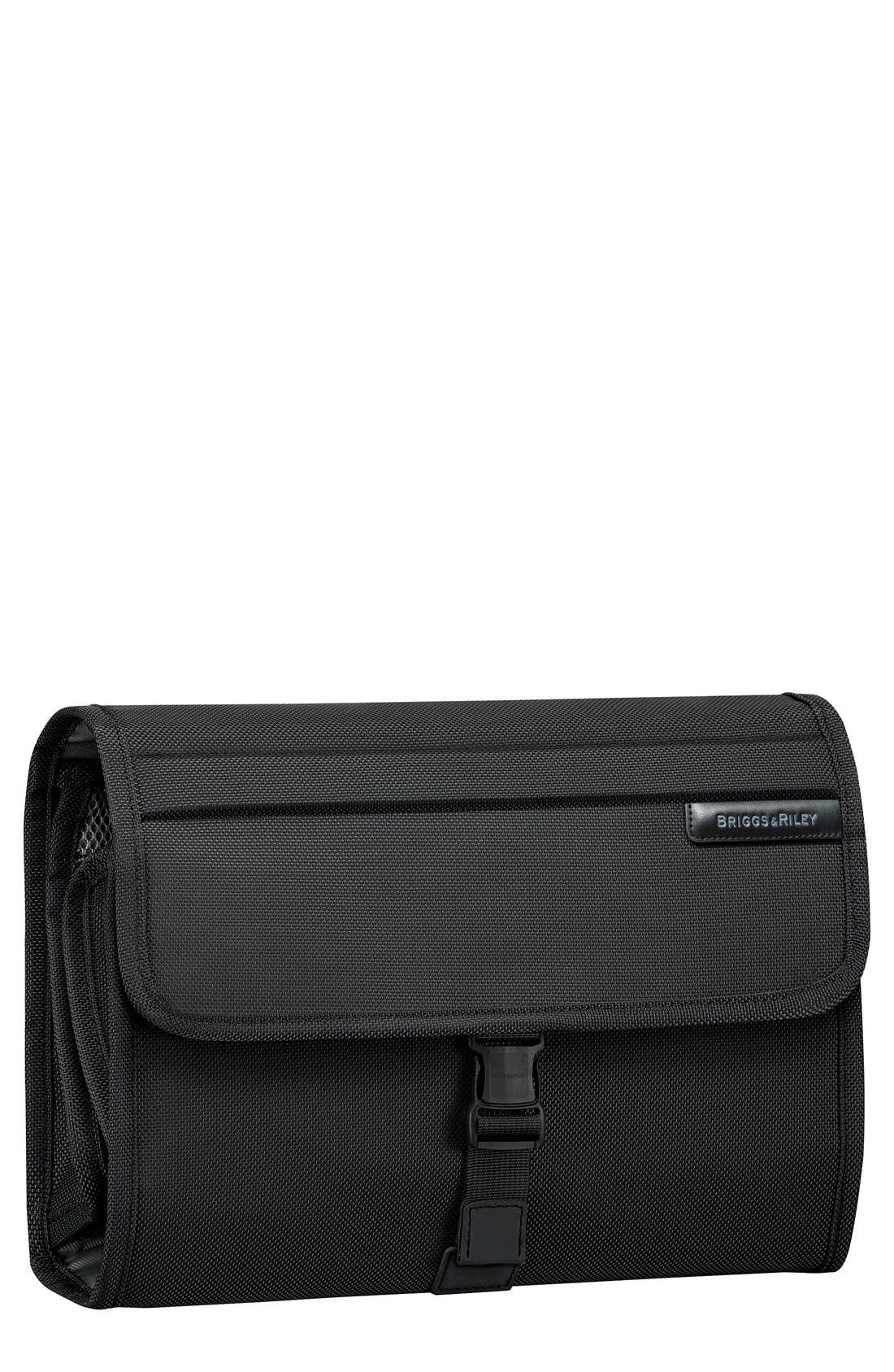 BRIGGS & RILEY, Baseline Deluxe Hanging Toiletry Kit, Main thumbnail 1, color, BLACK