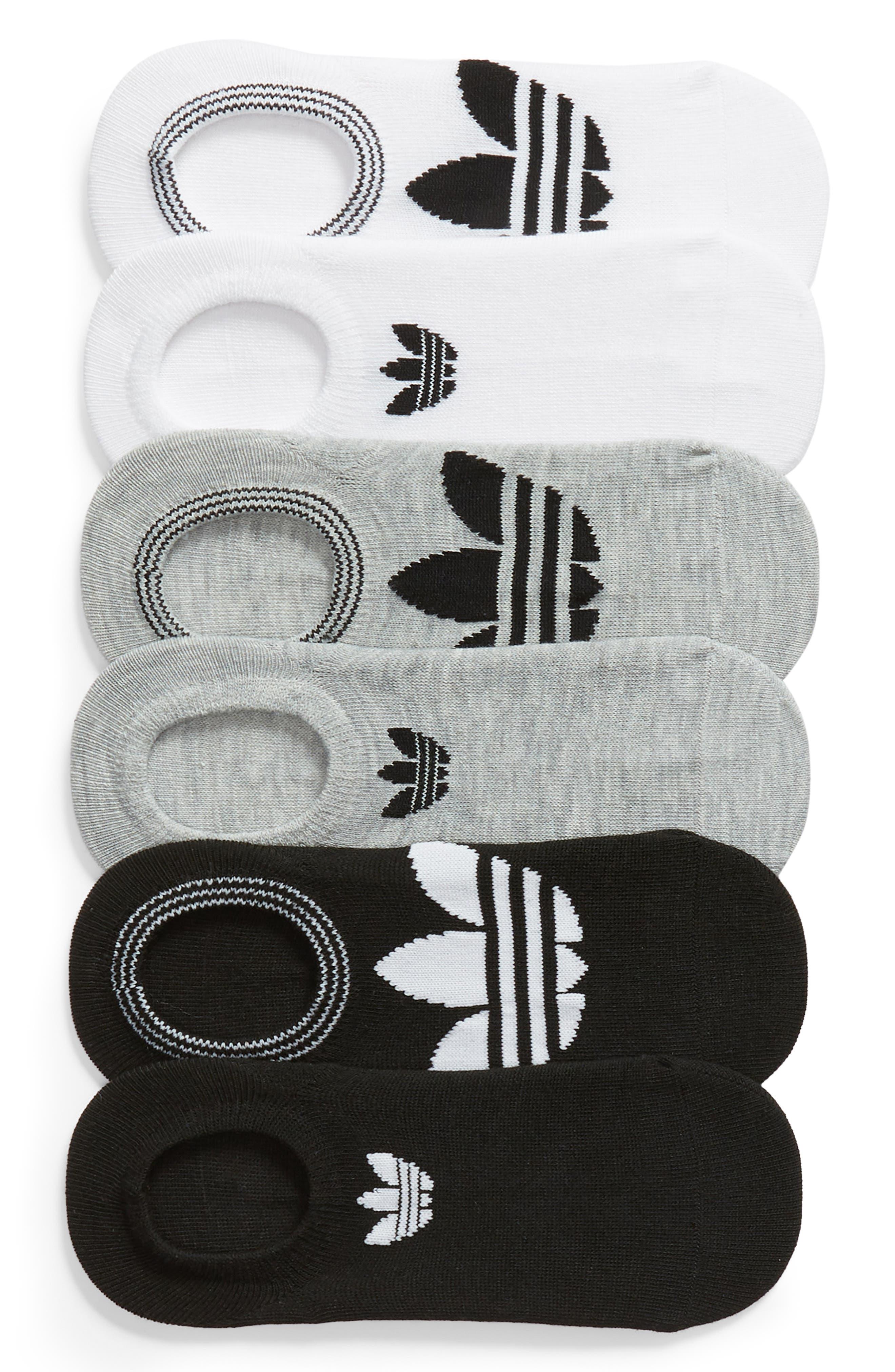 ADIDAS, 6-Pack Trefoil Superlite No-Show Socks, Main thumbnail 1, color, WHITE/ LT HTHR GREY/ BLACK