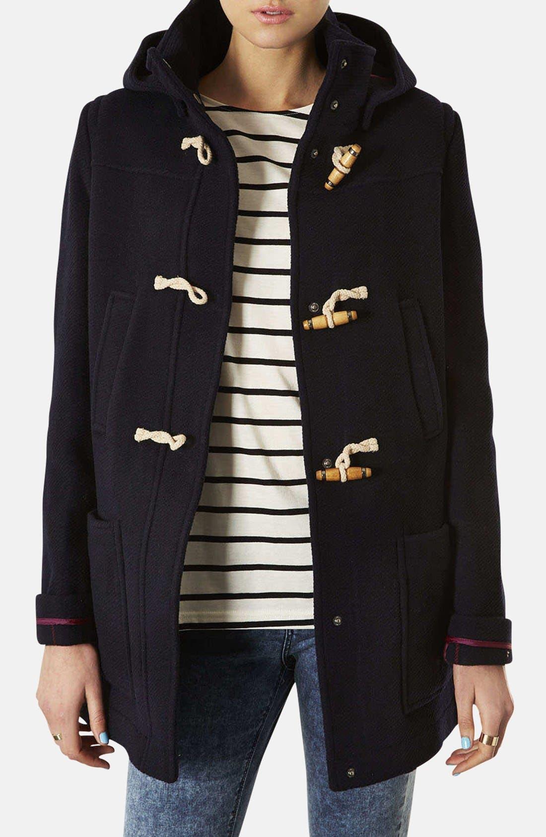 TOPSHOP Hooded Toggle Duffle Coat, Main, color, 410