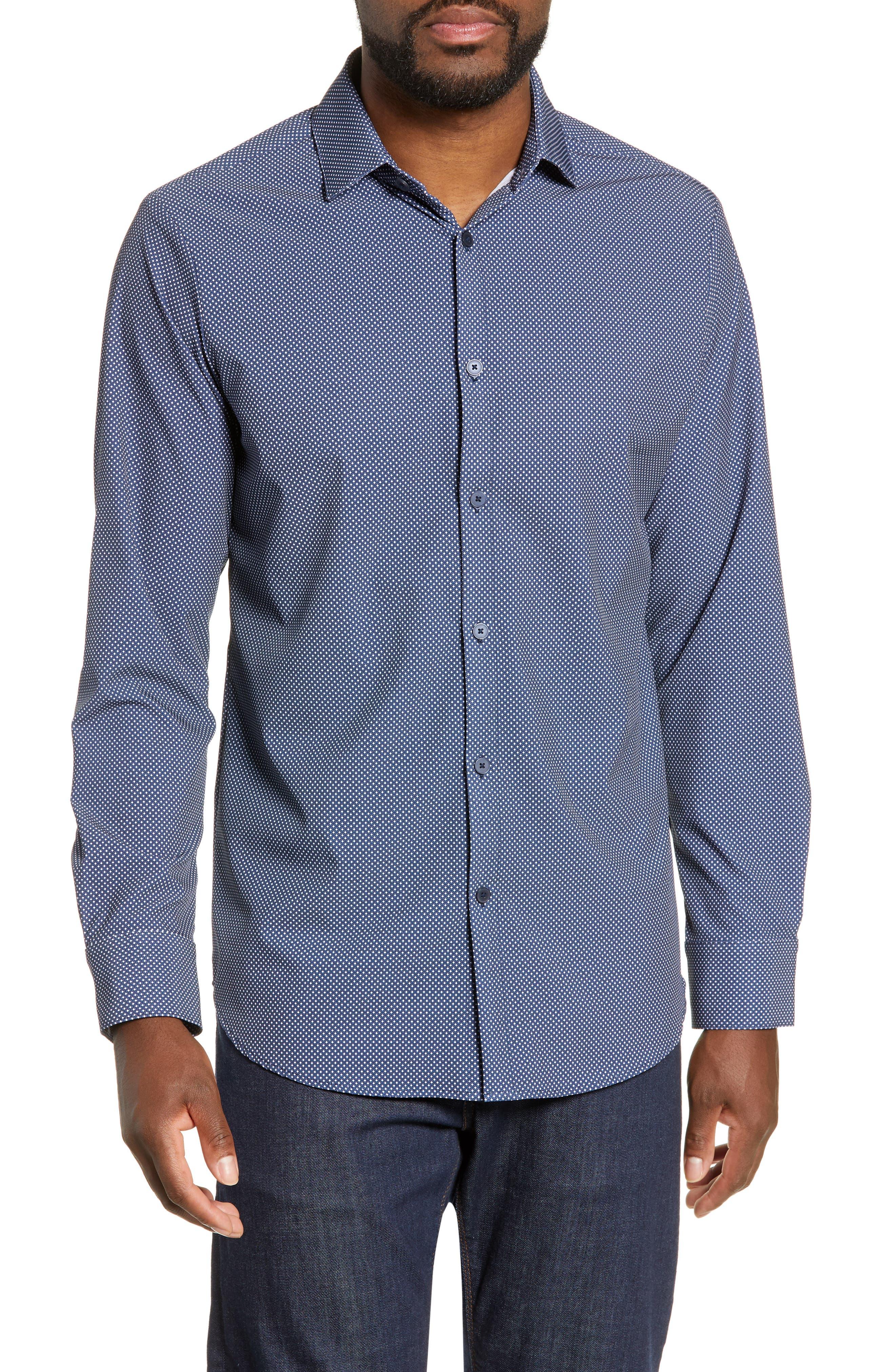 MIZZEN+MAIN Murray Trim Fit Plaid Performance Sport Shirt, Main, color, NAVY