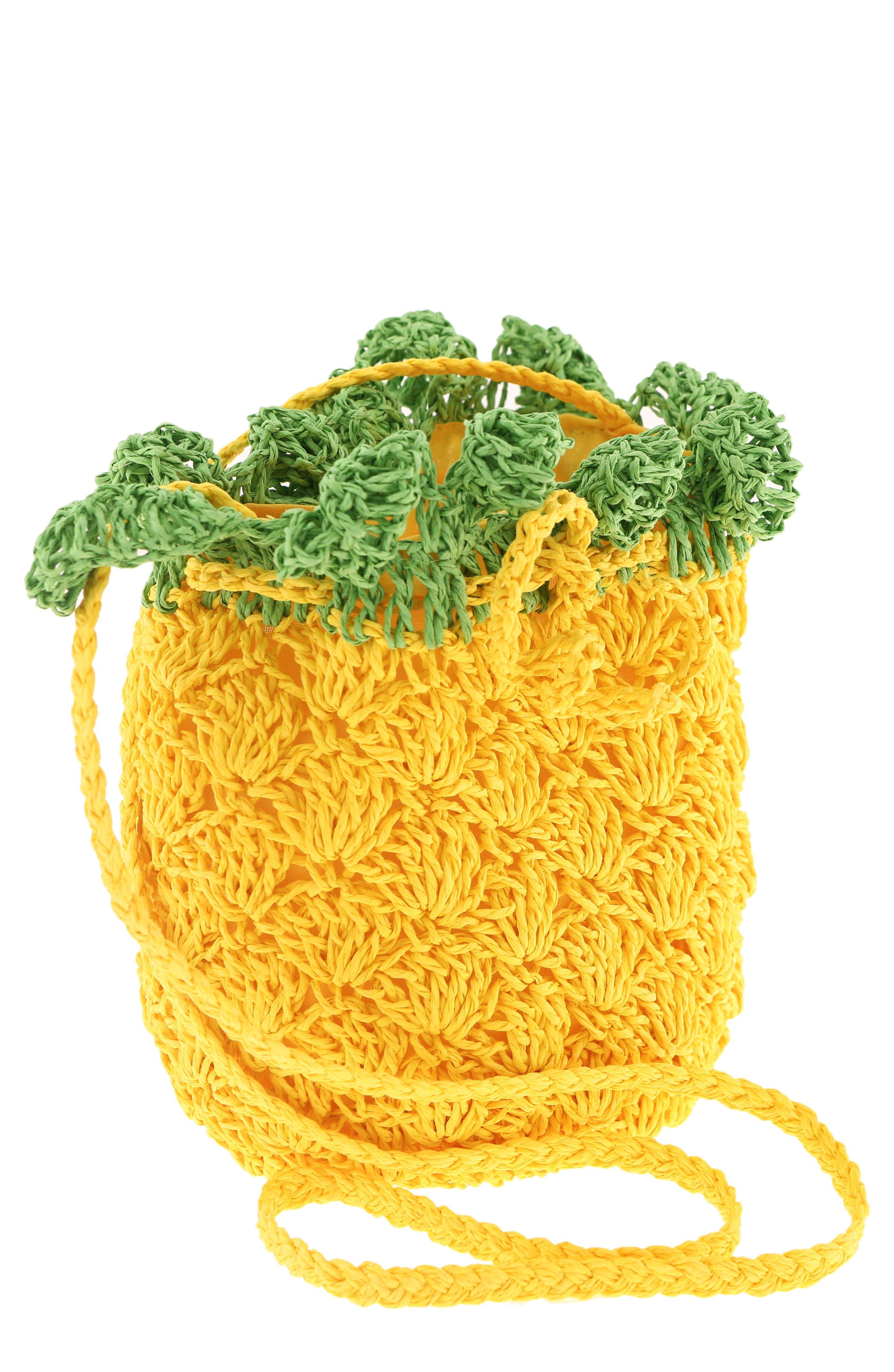 CAPELLI NEW YORK, Crochet Pineapple Crossbody Bag, Main thumbnail 1, color, YELLOW COMBO