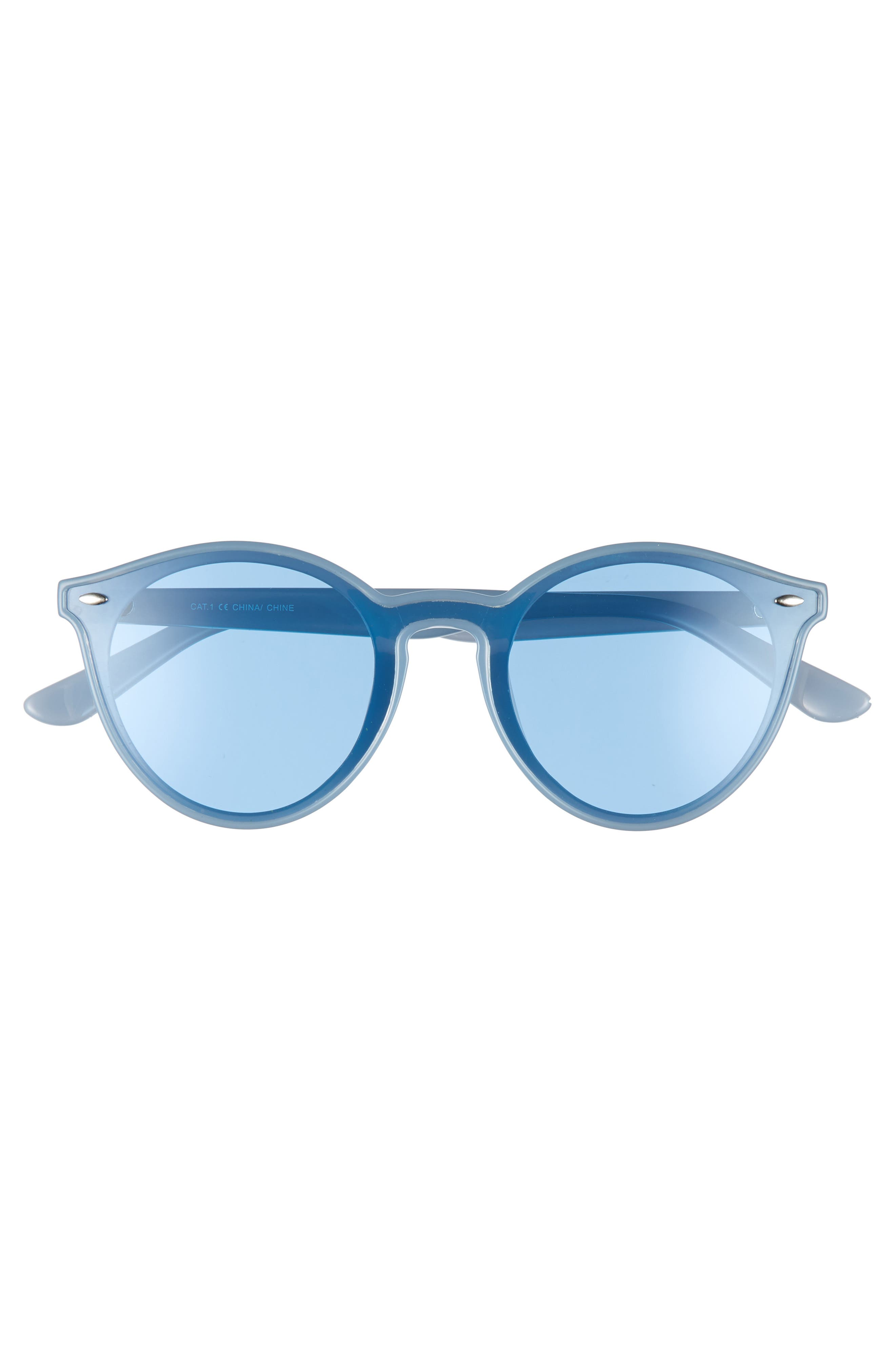 THE RAIL, Nico 53mm Round Sunglasses, Alternate thumbnail 2, color, BLUE/ BLUE