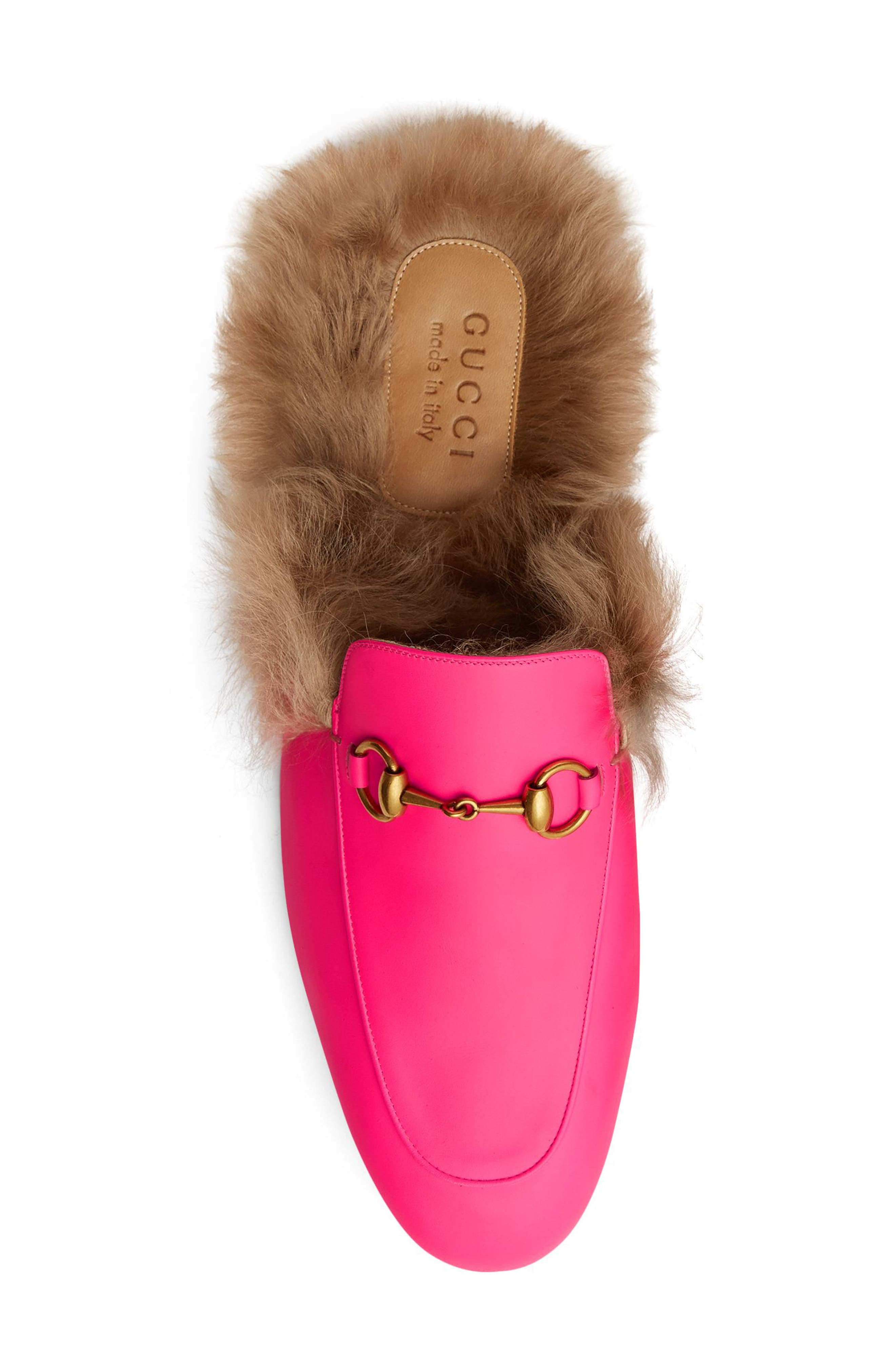 GUCCI, Princetown Genuine Shearling Lined Mule Loafer, Alternate thumbnail 3, color, PINK/ PINK