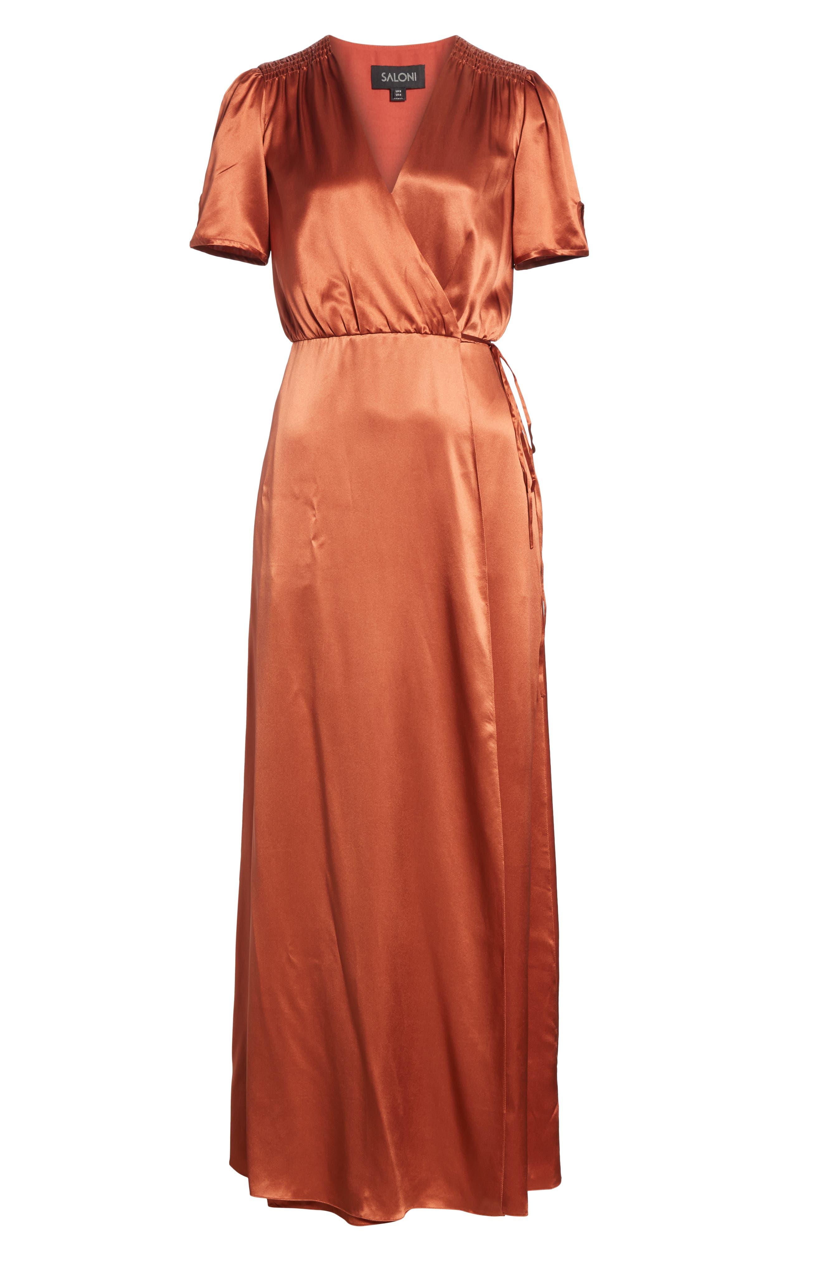 SALONI, Lea Silk Wrap Dress, Alternate thumbnail 6, color, DEEP RUSH