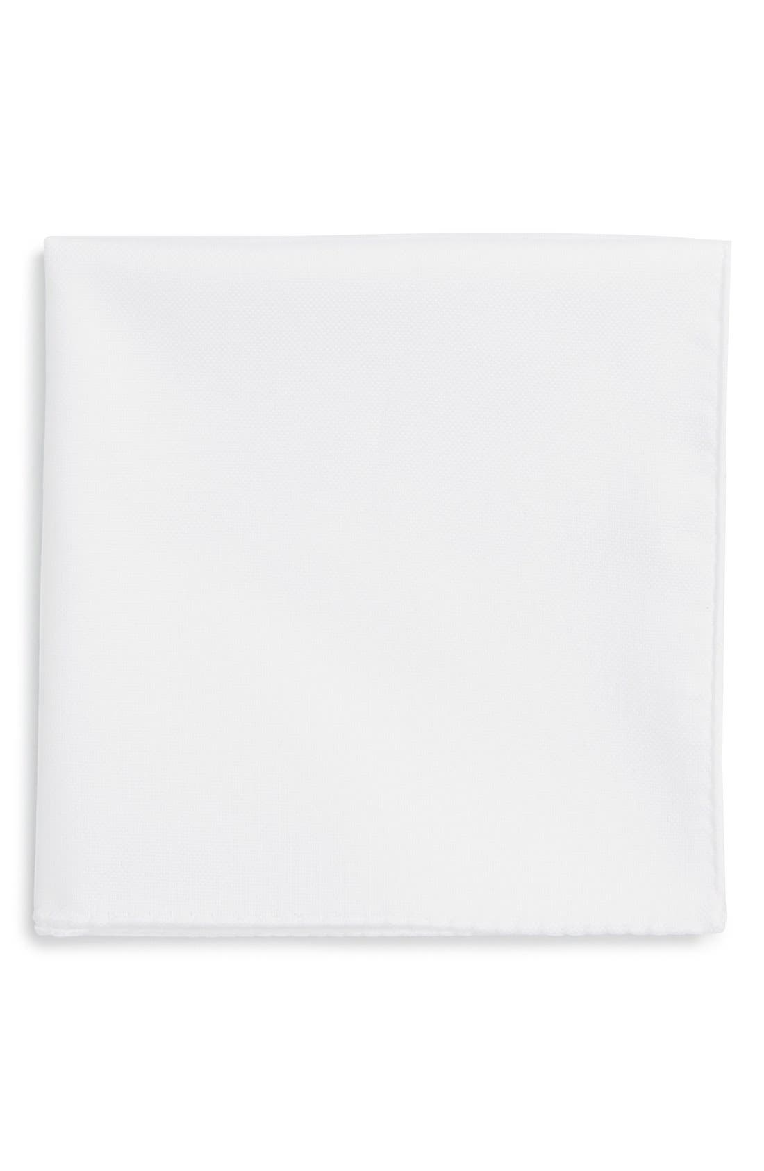 TED BAKER LONDON, Solid Cotton Pocket Square, Main thumbnail 1, color, WHITE