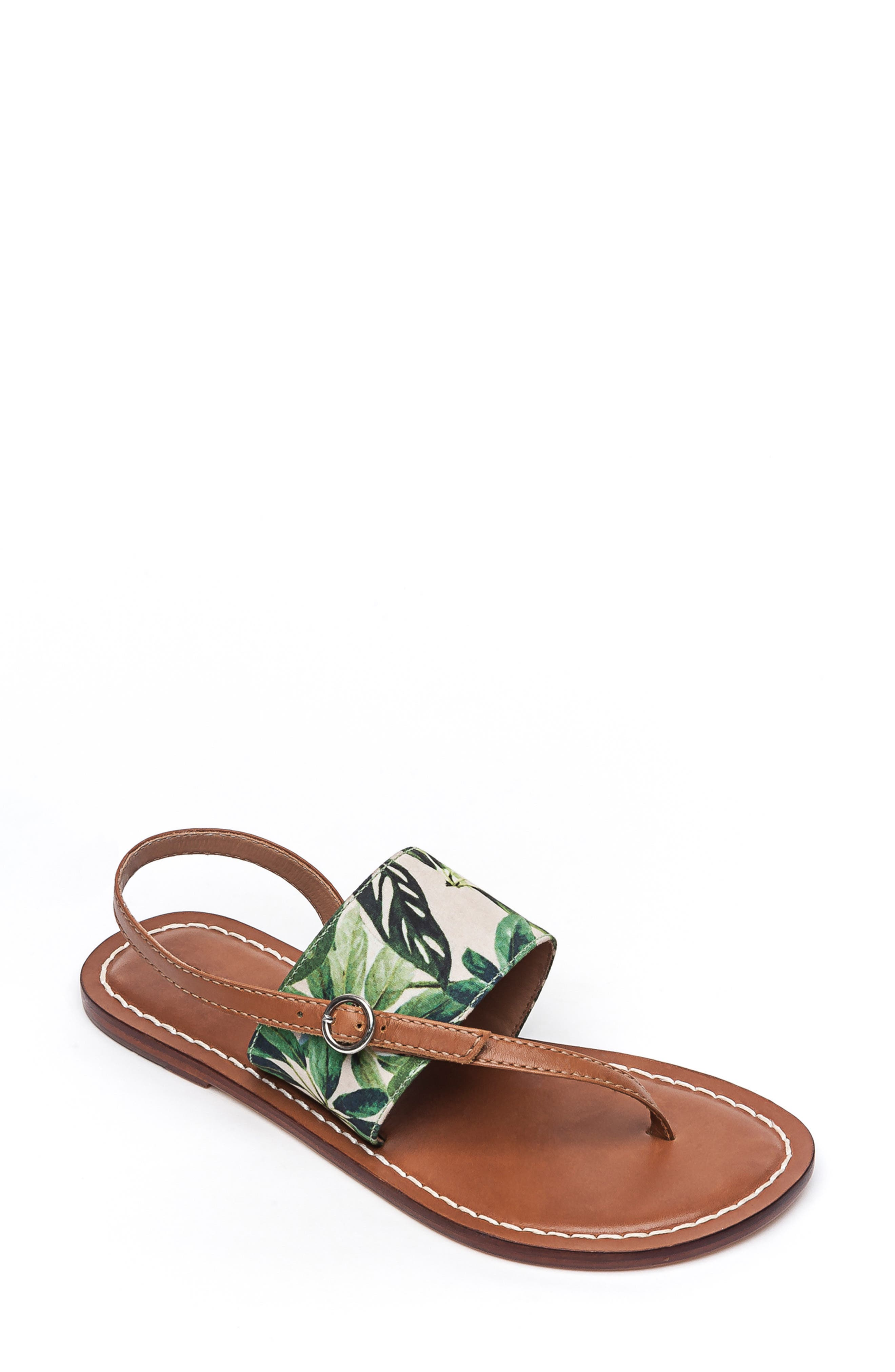 BERNARDO, Footwear Meg Thong Sandal, Main thumbnail 1, color, PALM FABRIC/ LUGGAGE LEATHER