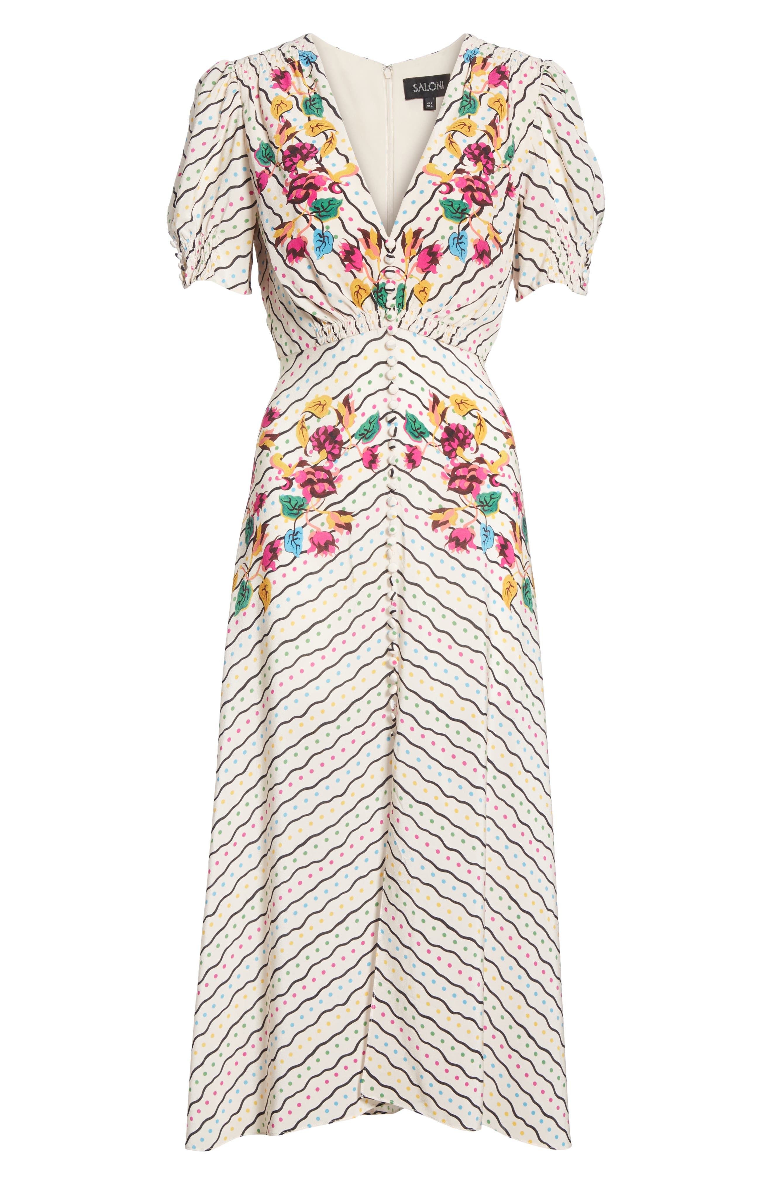 SALONI, Lea Silk Midi Dress, Alternate thumbnail 7, color, JAPONICA WIGGLE PLACEMENT