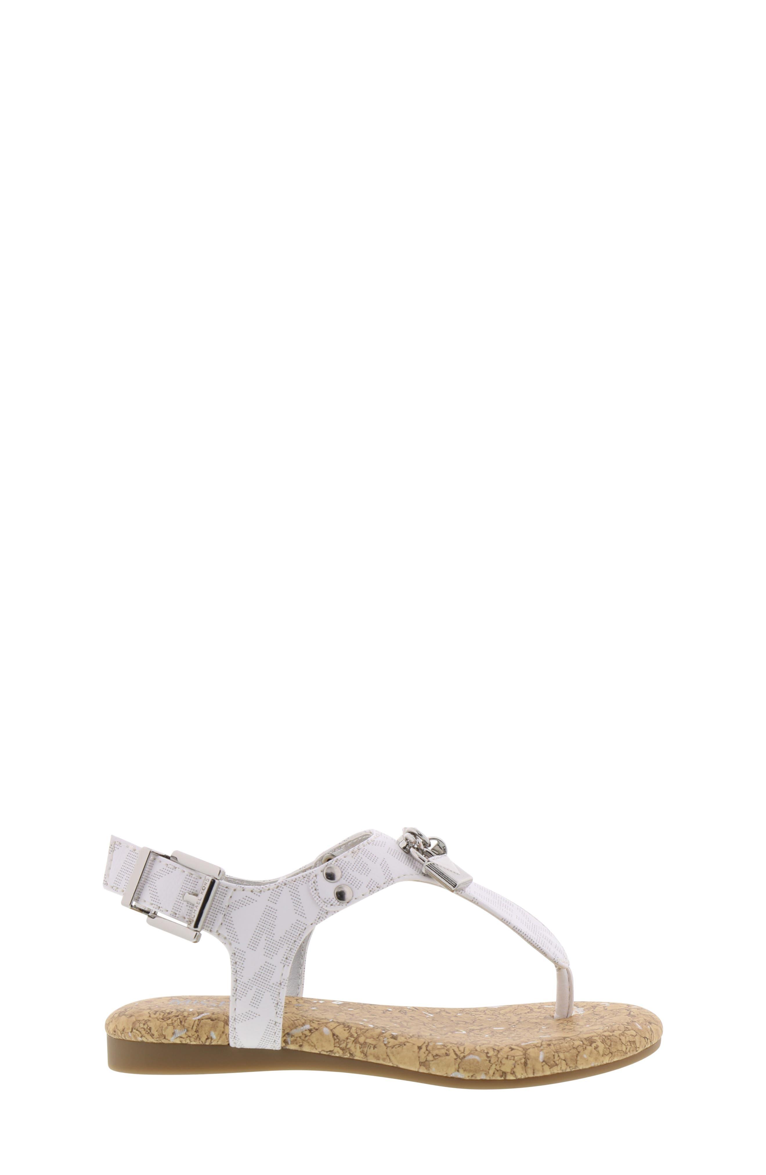 MICHAEL MICHAEL KORS, Tilly Cora Charm T-Strap Sandal, Alternate thumbnail 3, color, WHITE LOGO