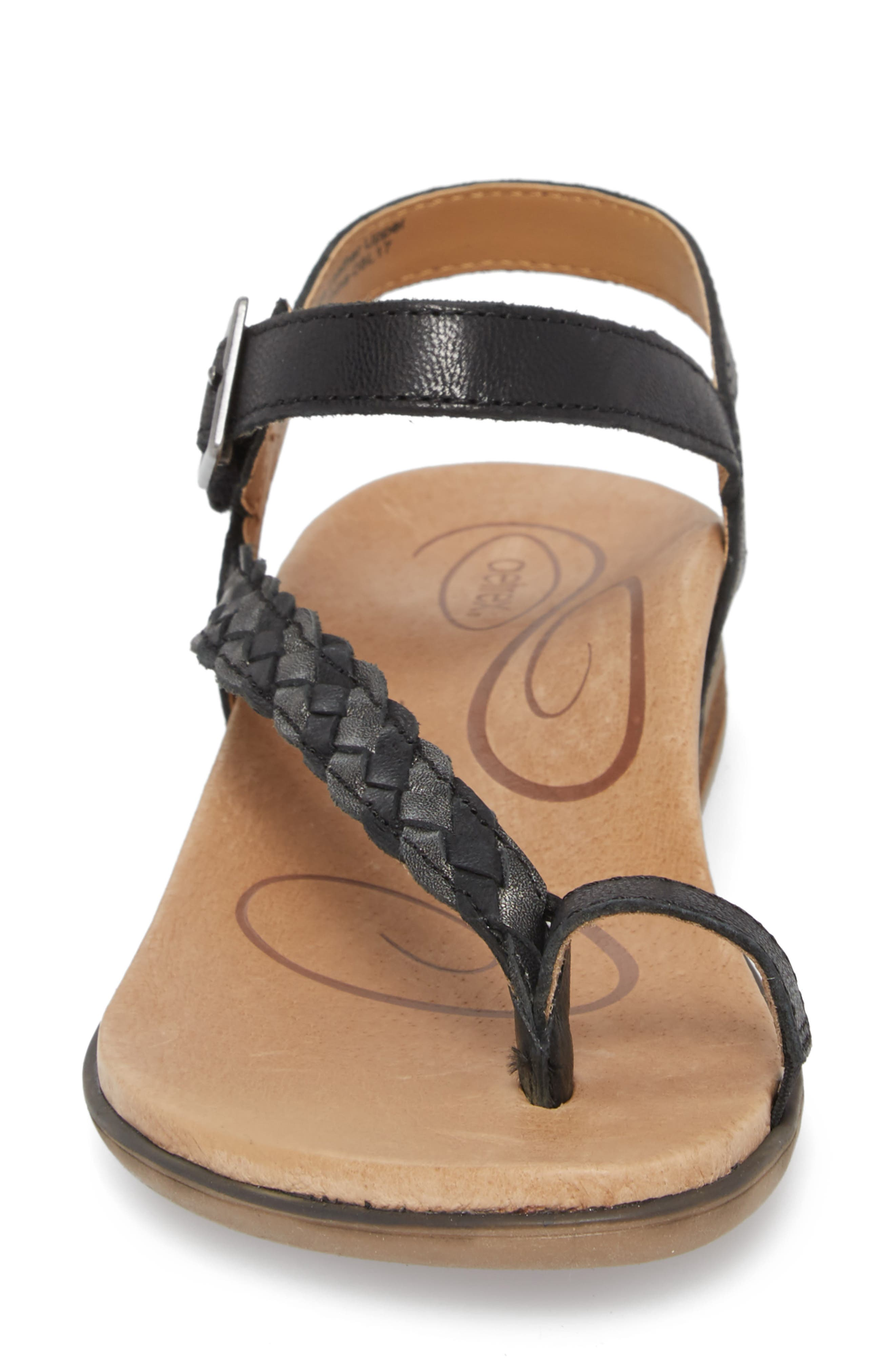 AETREX, Evie Braided Strap Sandal, Alternate thumbnail 4, color, BLACK LEATHER