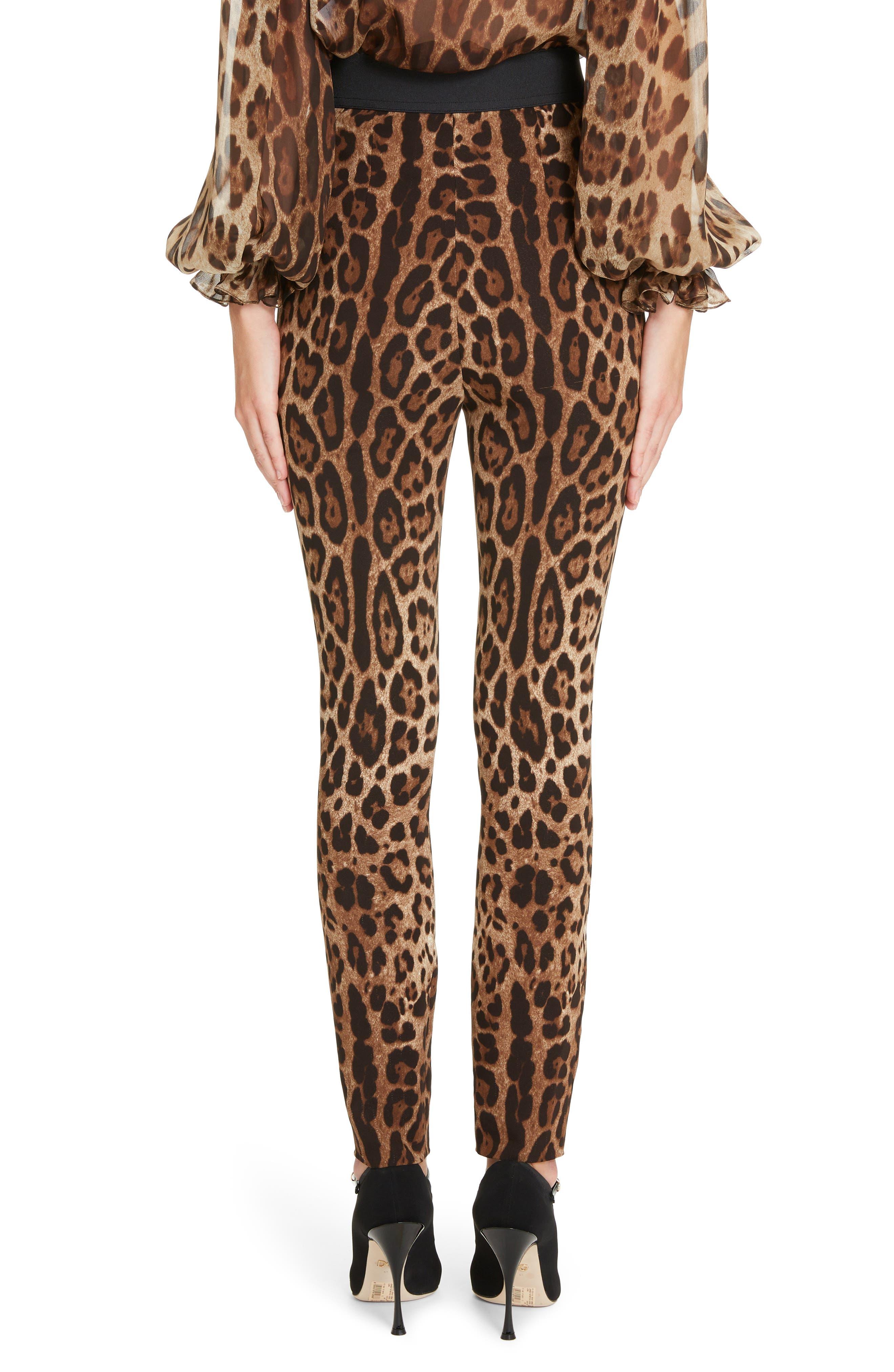 DOLCE&GABBANA, Leopard Print Cady Leggings, Alternate thumbnail 2, color, LEO