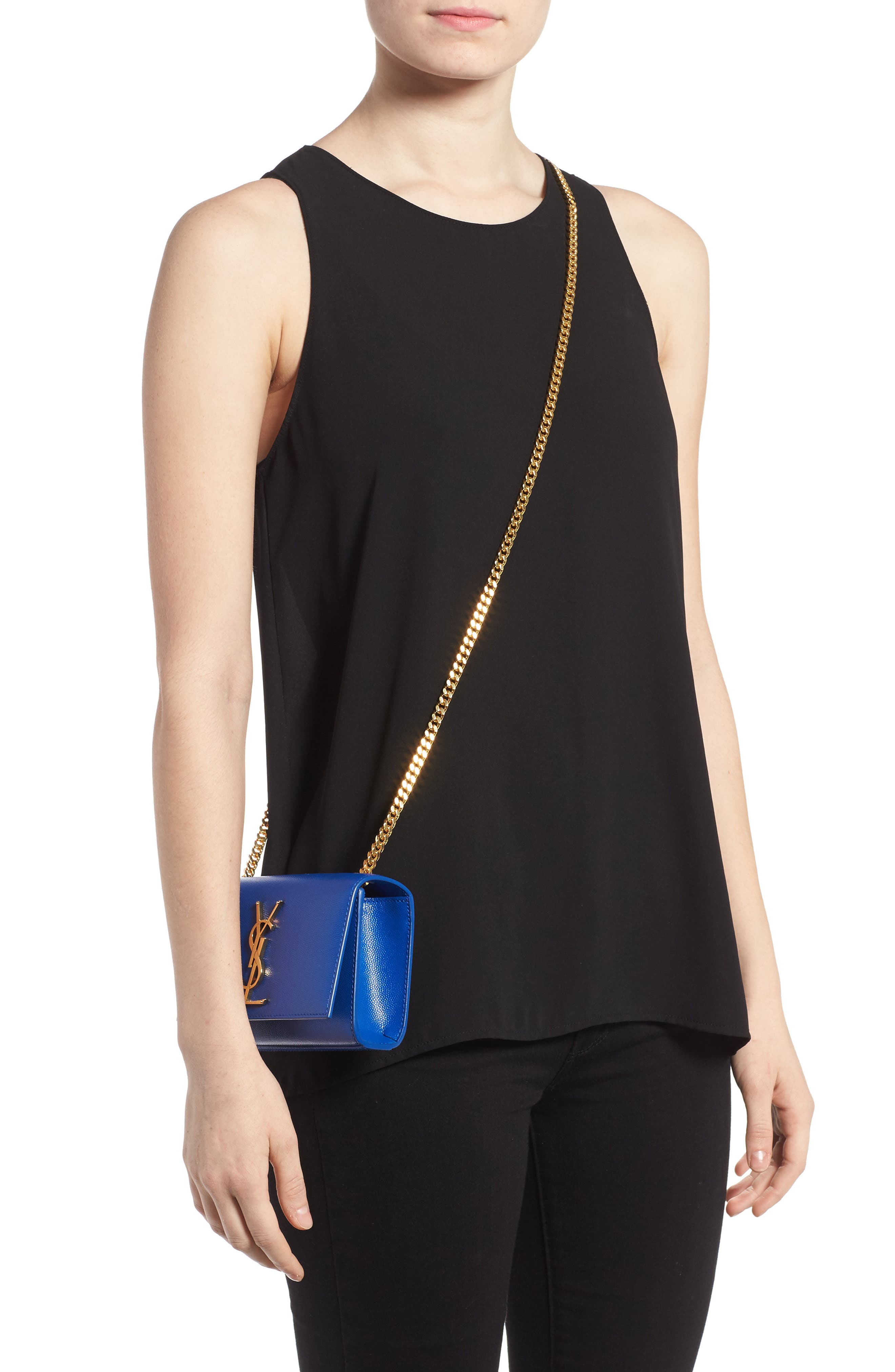 SAINT LAURENT, Small Kate Chain Crossbody Bag, Alternate thumbnail 2, color, ELECTRIC BLUE
