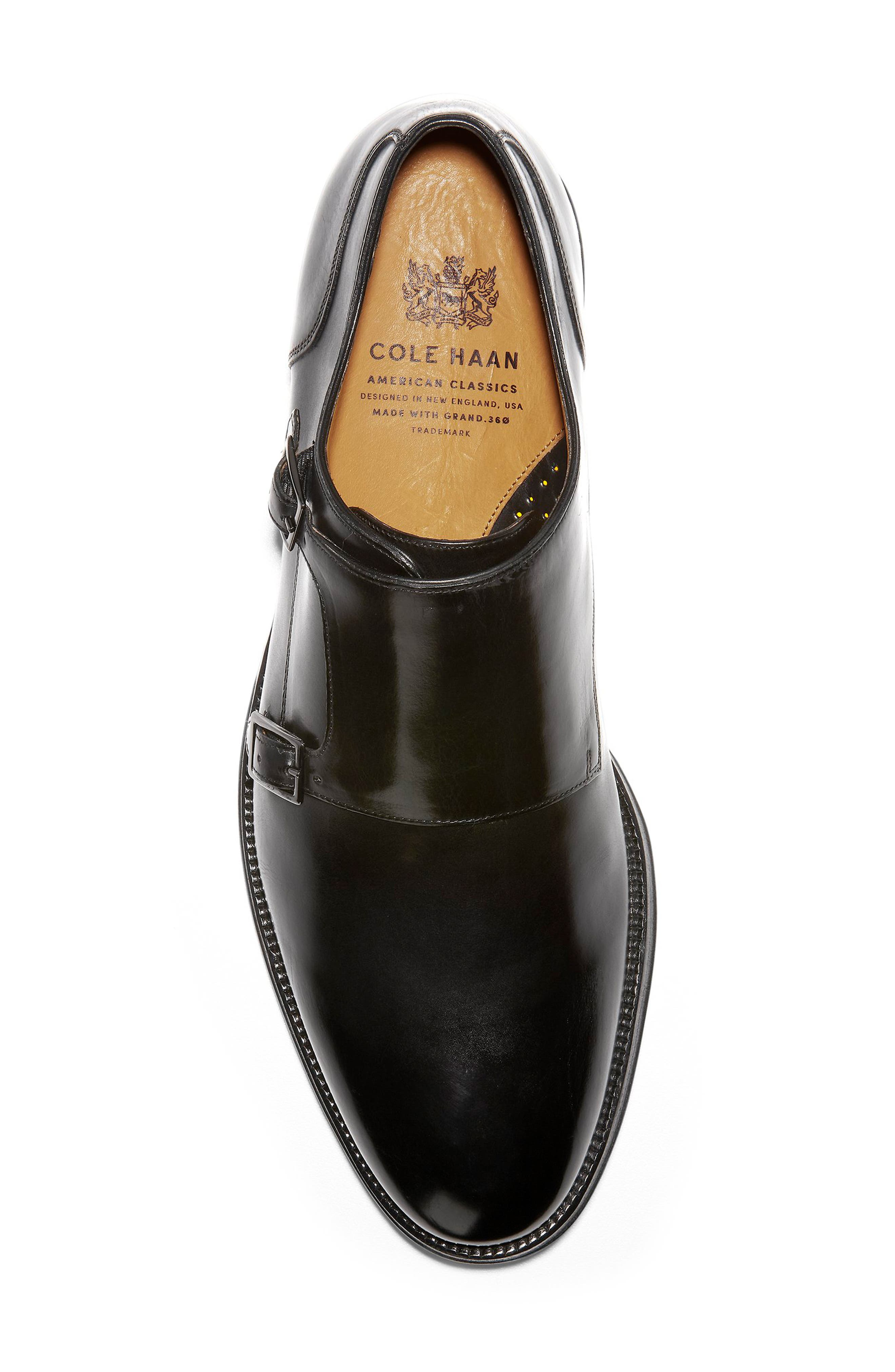 COLE HAAN, American Classics Gramercy Double Strap Monk Shoe, Alternate thumbnail 5, color, BLACK LEATHER