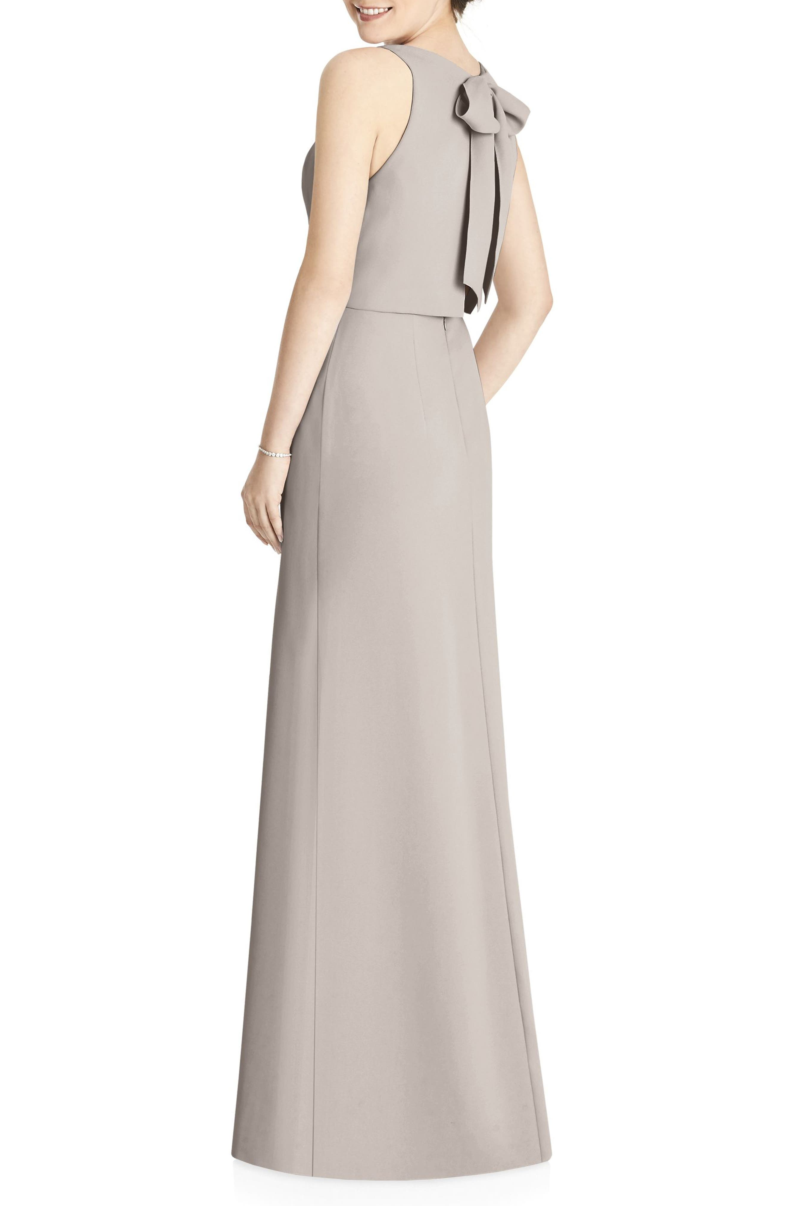 JY JENNY YOO, Tie Back Crepe Gown, Alternate thumbnail 2, color, TAUPE