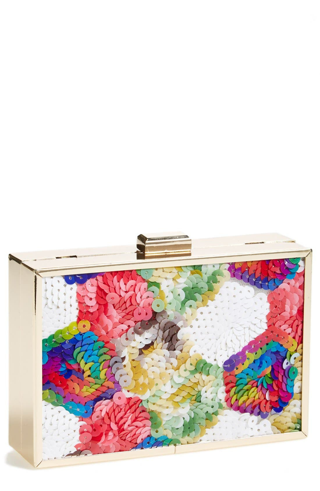 TASHA, 'Sequin Rainbow' Box Clutch, Main thumbnail 1, color, 400