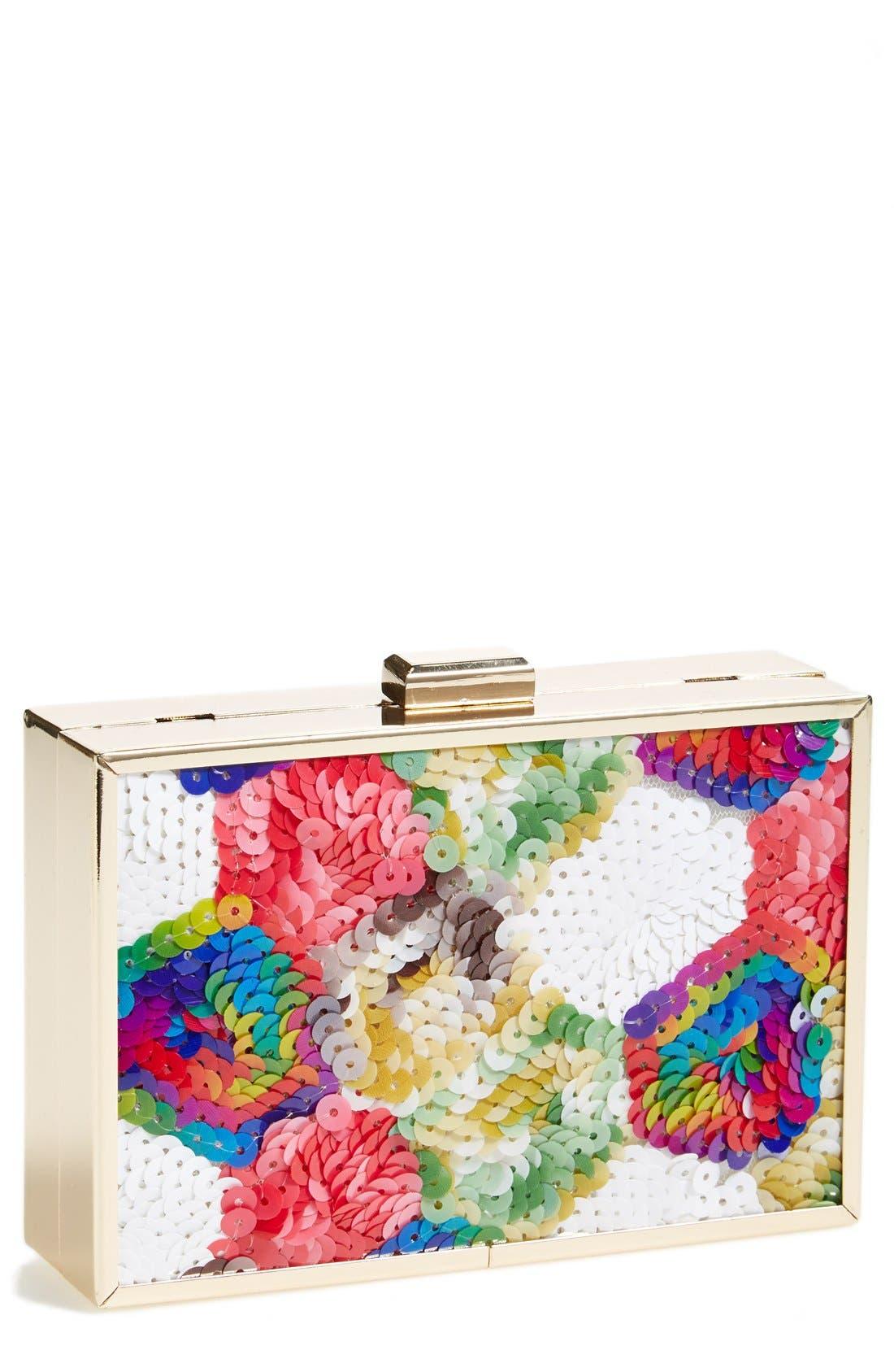 TASHA 'Sequin Rainbow' Box Clutch, Main, color, 400