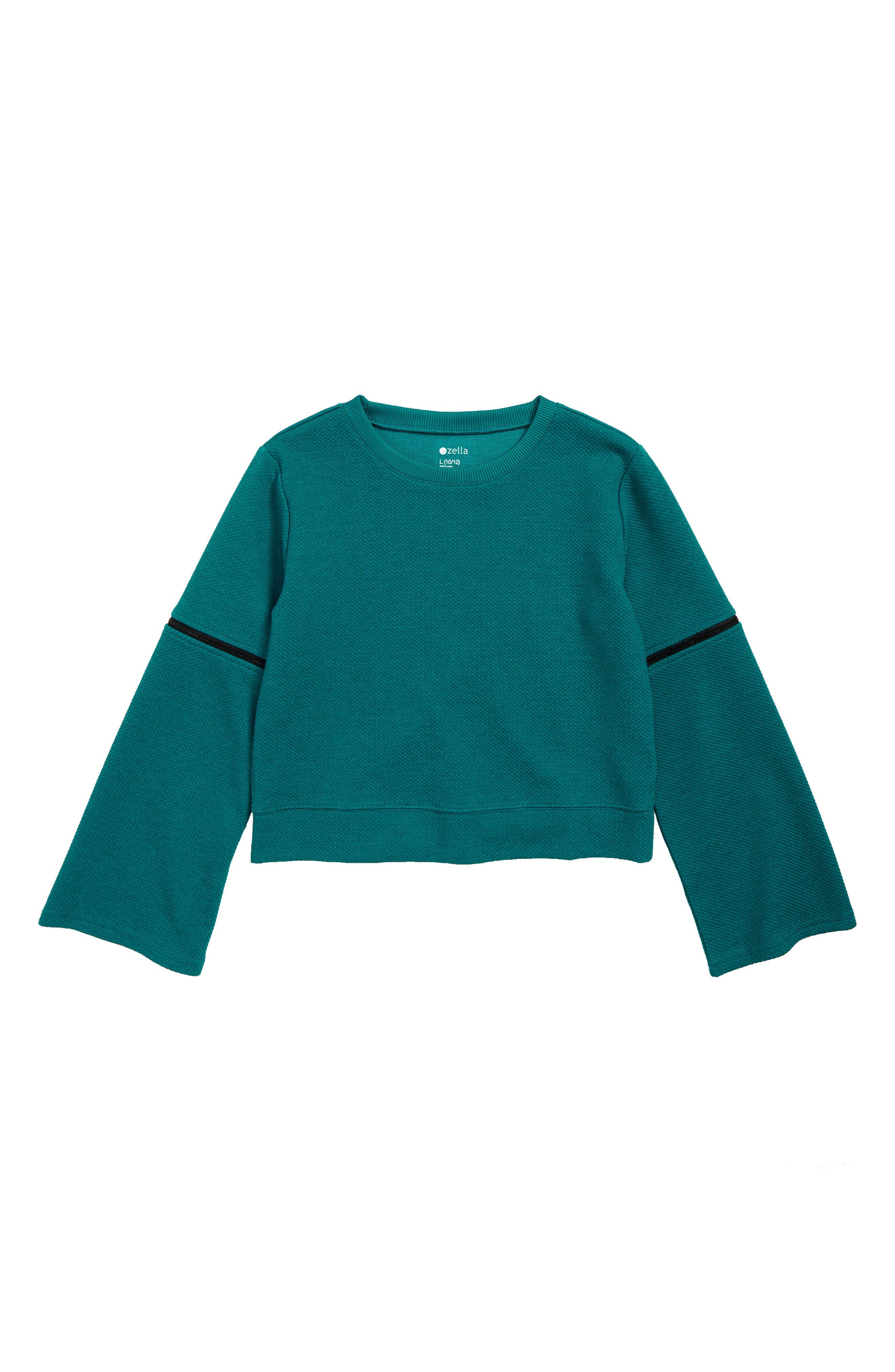 ZELLA GIRL Zip Bell Sleeve Pullover, Main, color, 449
