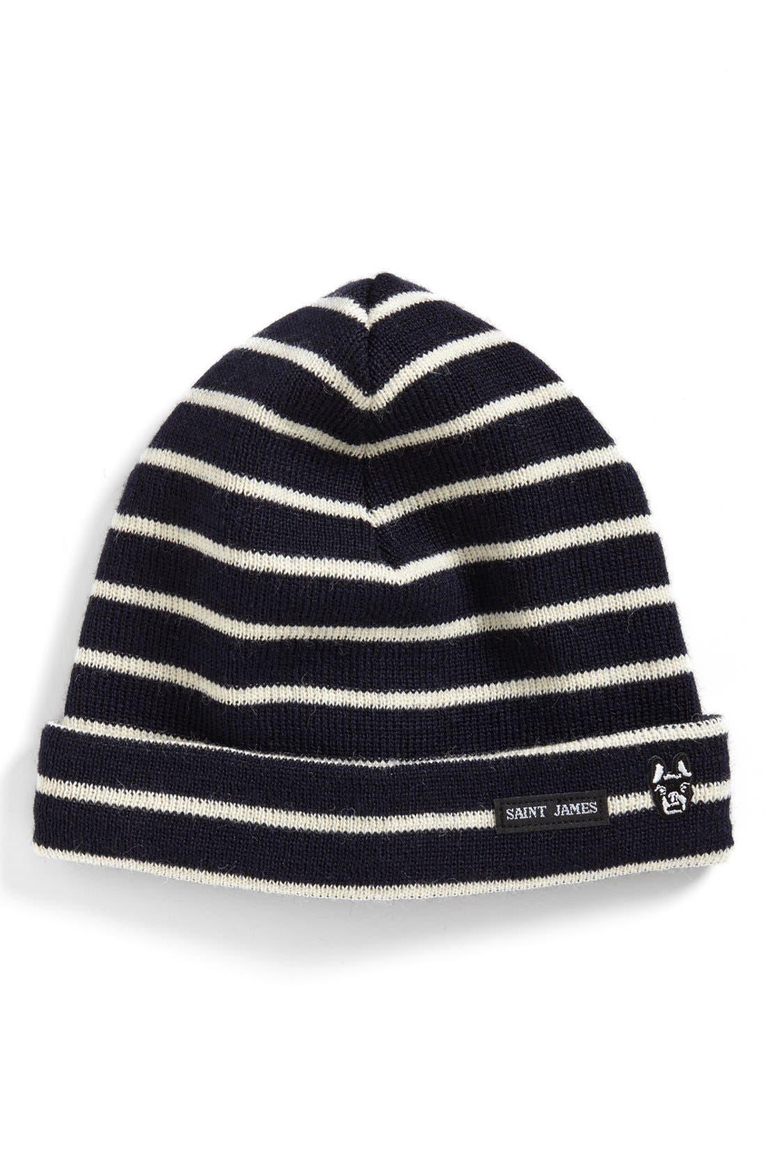 SAINT JAMES Fisherman's Stripe Wool Cap, Main, color, 460