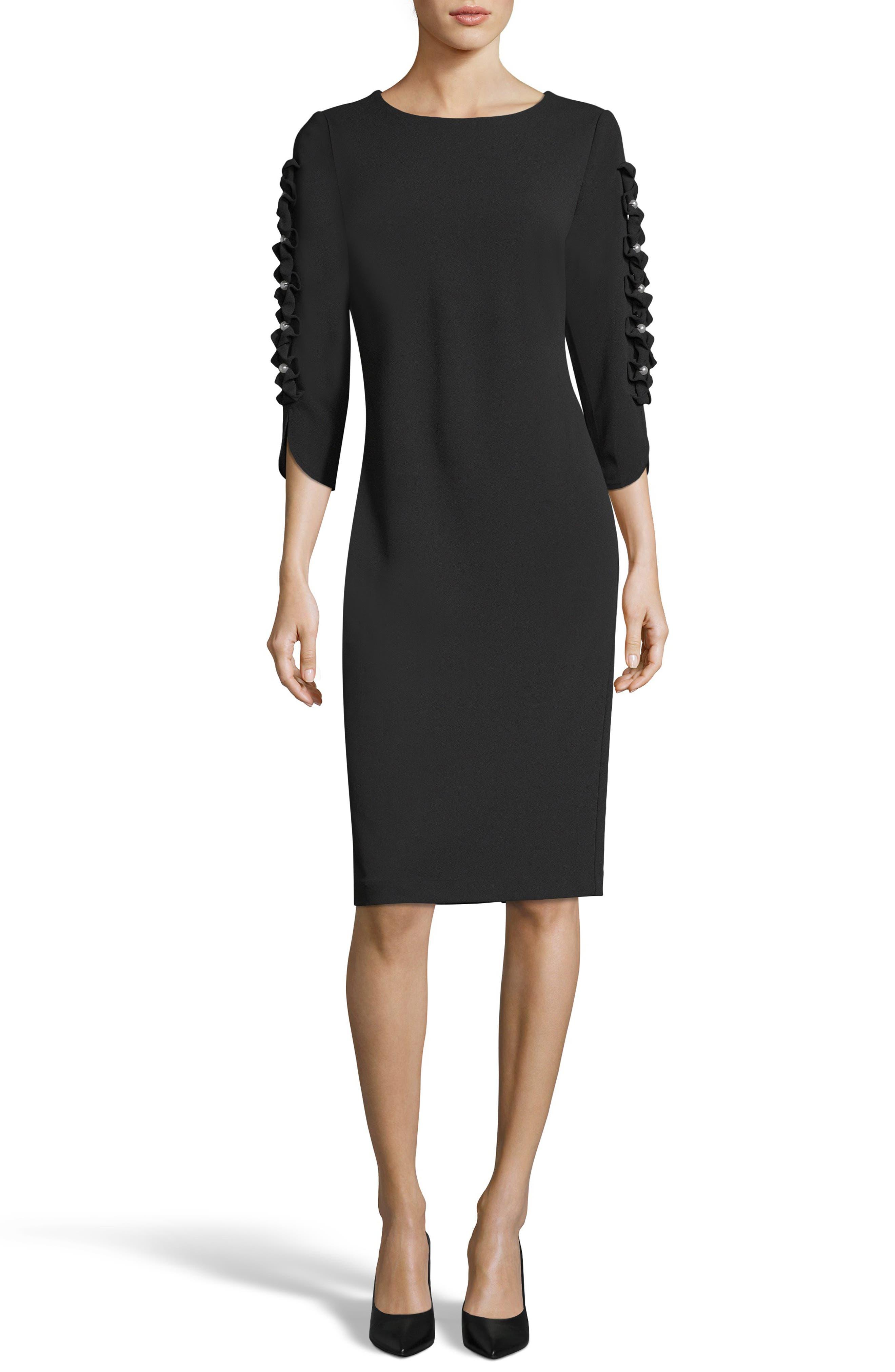Eci Ruffle Sleeve Sheath Dress, Black