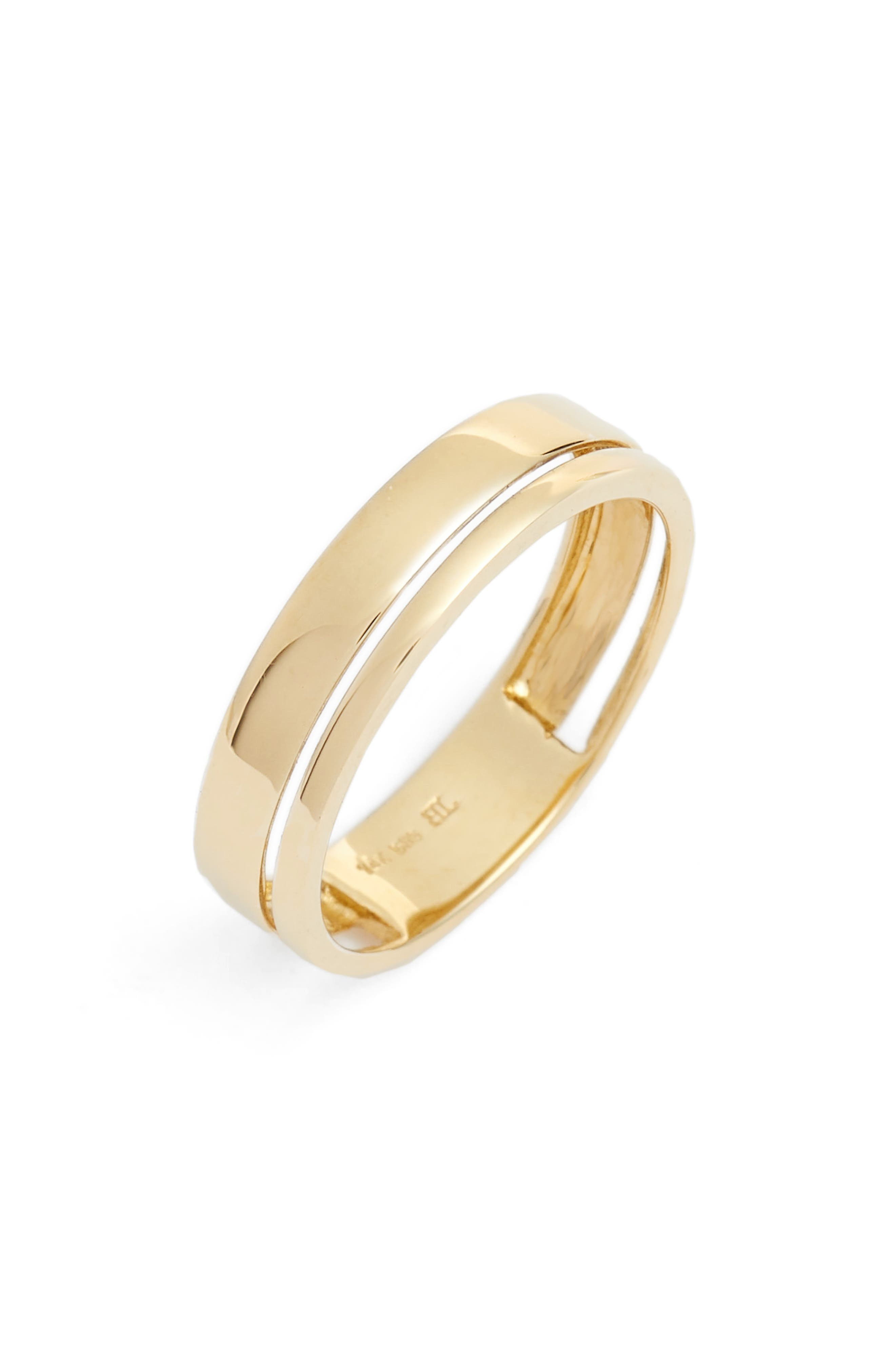 BONY LEVY Split Band Ring, Main, color, YELLOW GOLD