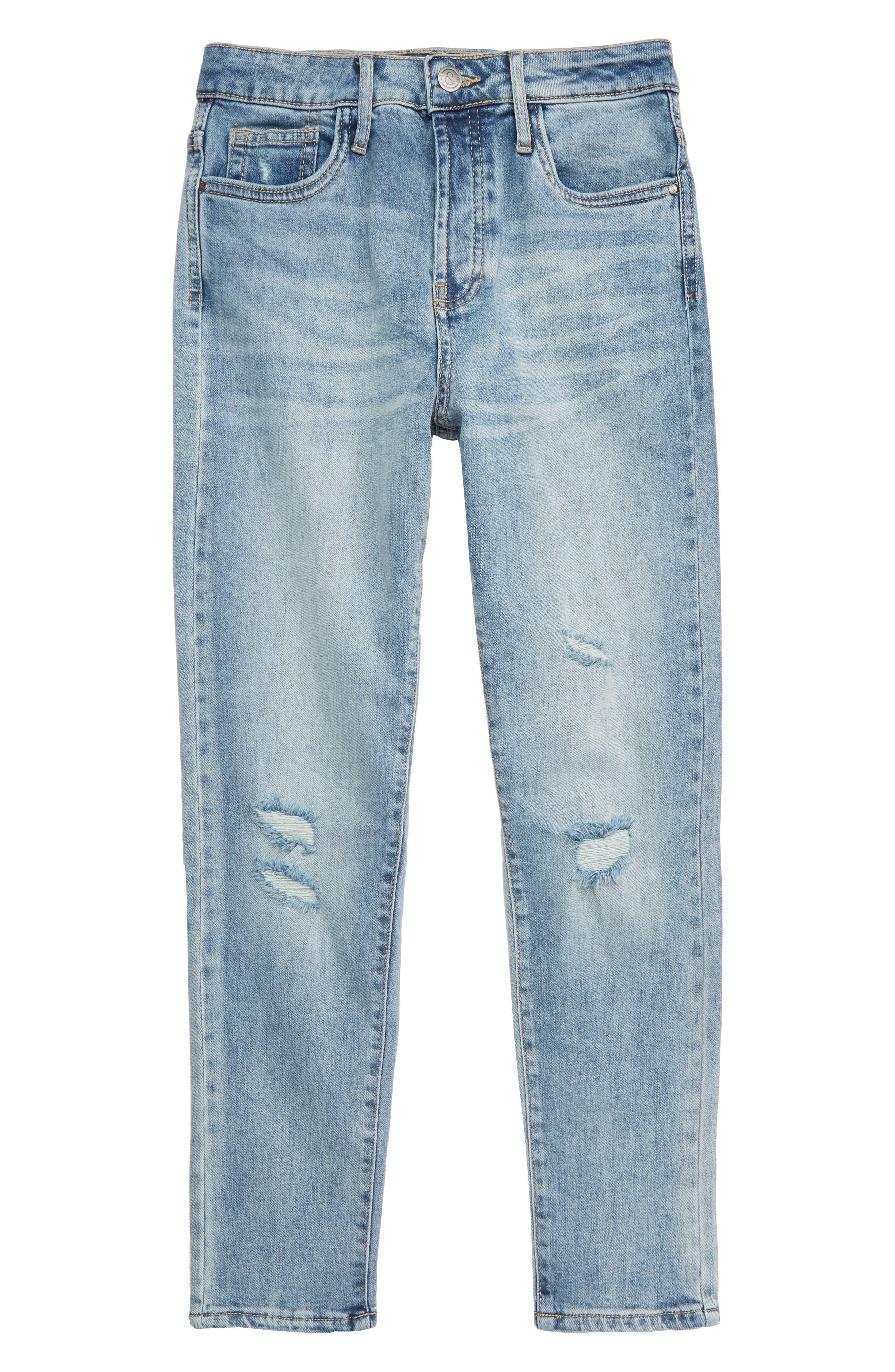 TREASURE & BOND, High Waist Distressed Skinny Jeans, Main thumbnail 1, color, VINTAGE LIGHT WASH