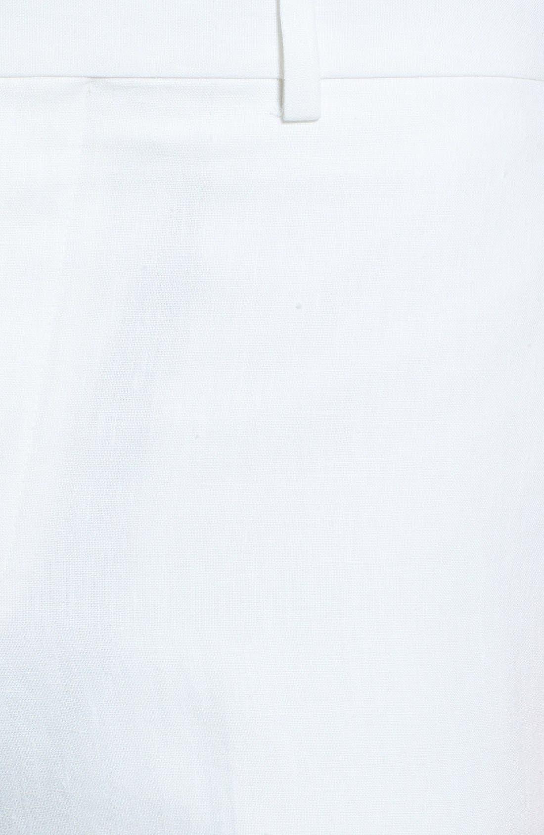 NORDSTROM MEN'S SHOP, Flat Front Slim Leg Linen Trousers, Alternate thumbnail 3, color, 100