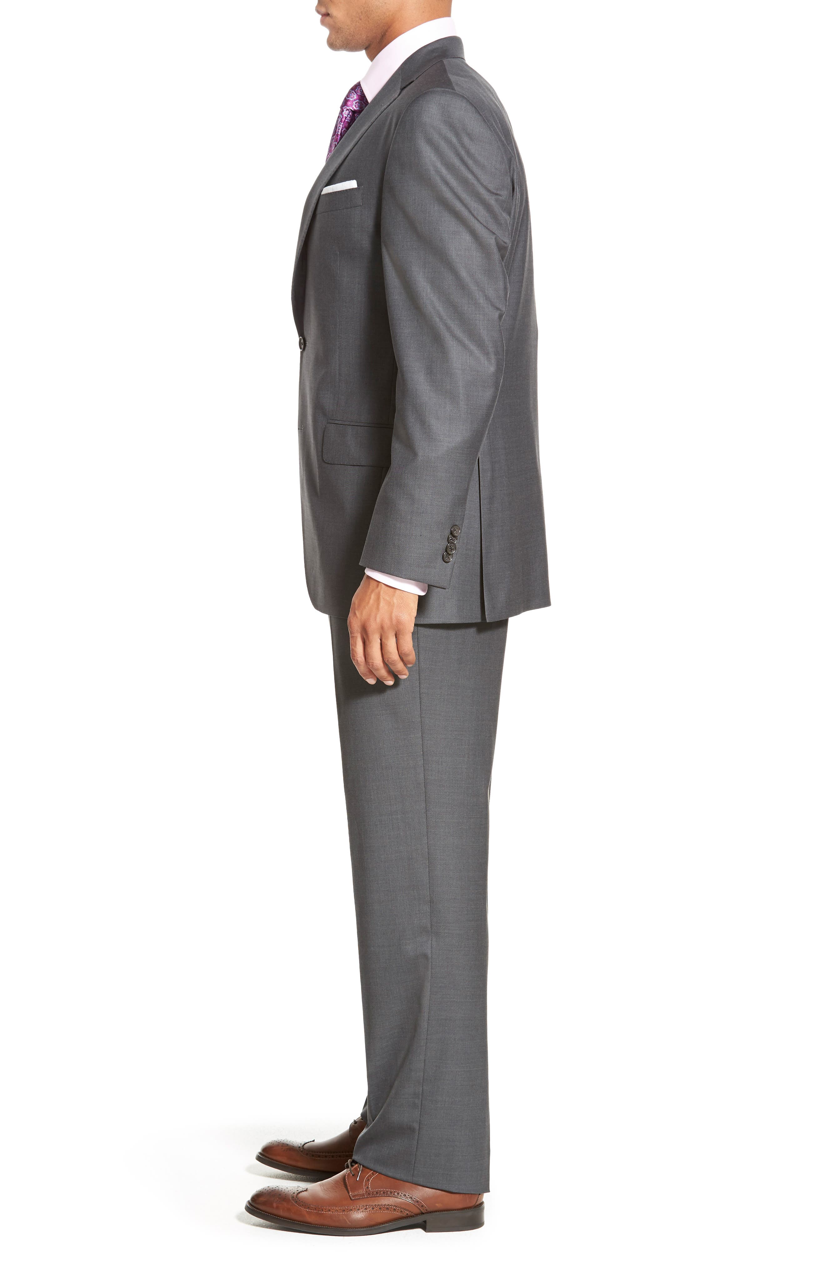 DAVID DONAHUE, Ryan Classic Fit Solid Wool Suit, Alternate thumbnail 3, color, GREY