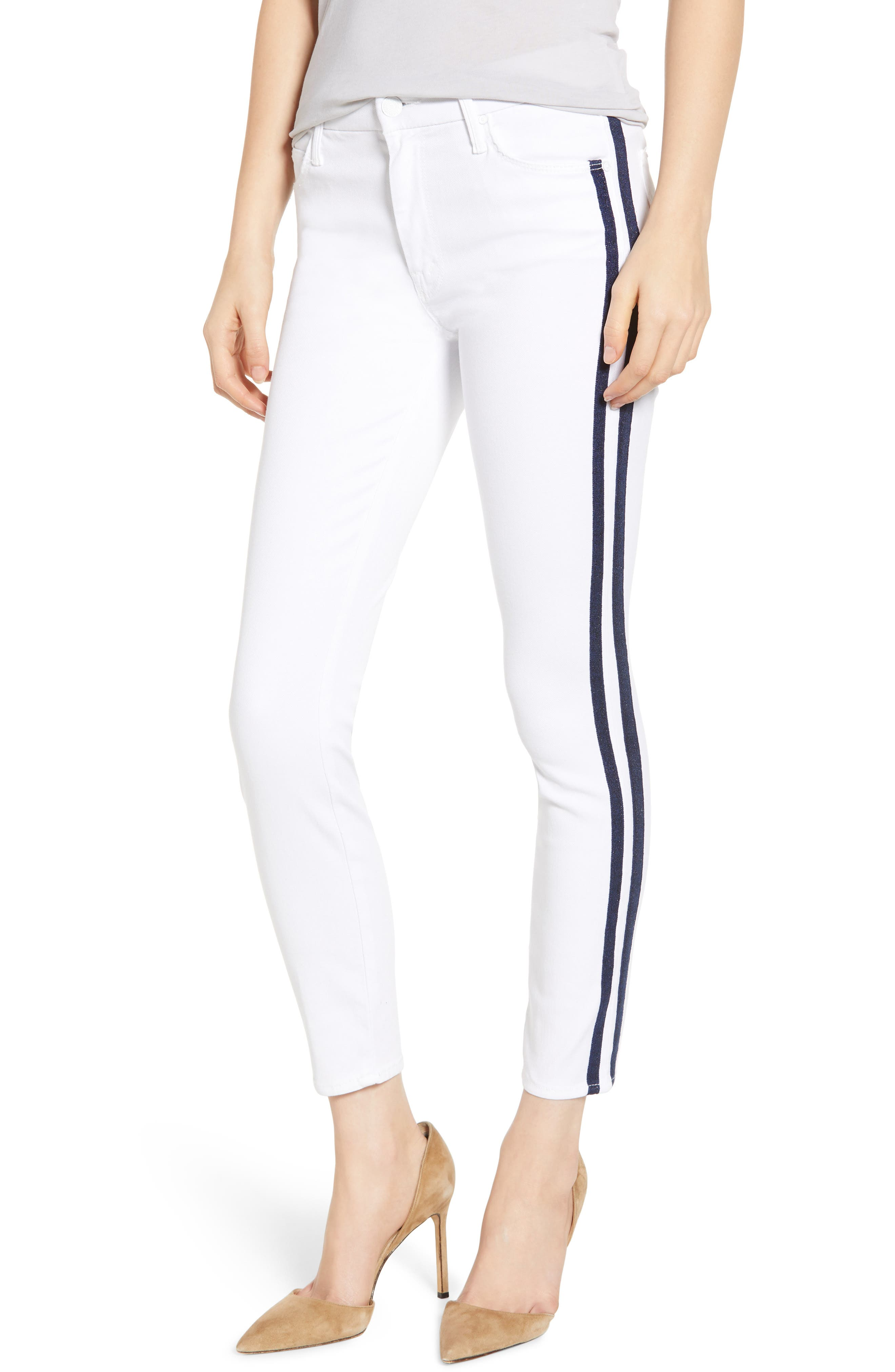 MOTHER, The Looker Stripe Ankle Skinny Jeans, Main thumbnail 1, color, 100