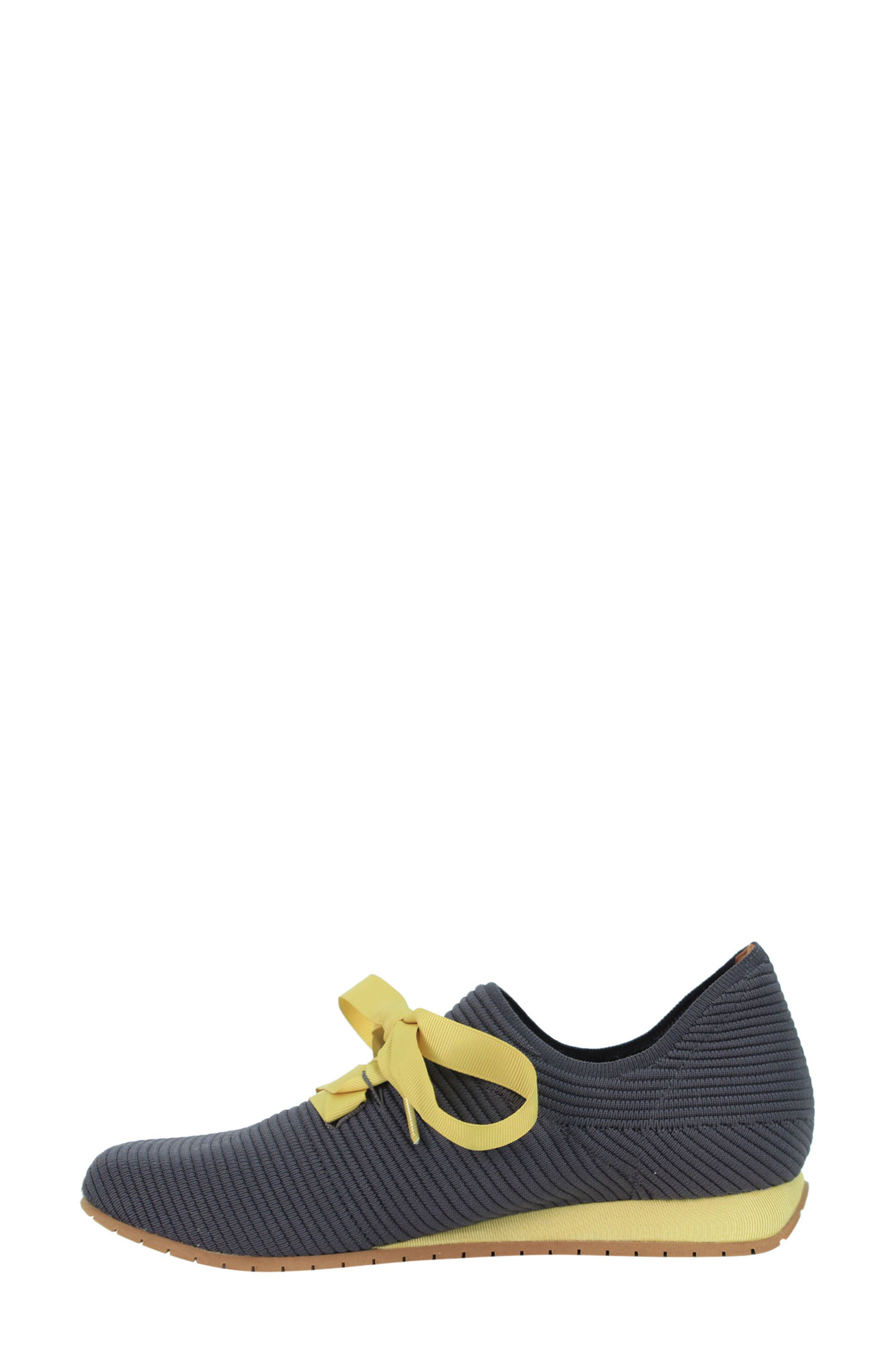 L'AMOUR DES PIEDS, Taimah Sneaker, Alternate thumbnail 3, color, DARK GREY/ YELLOW FABRIC