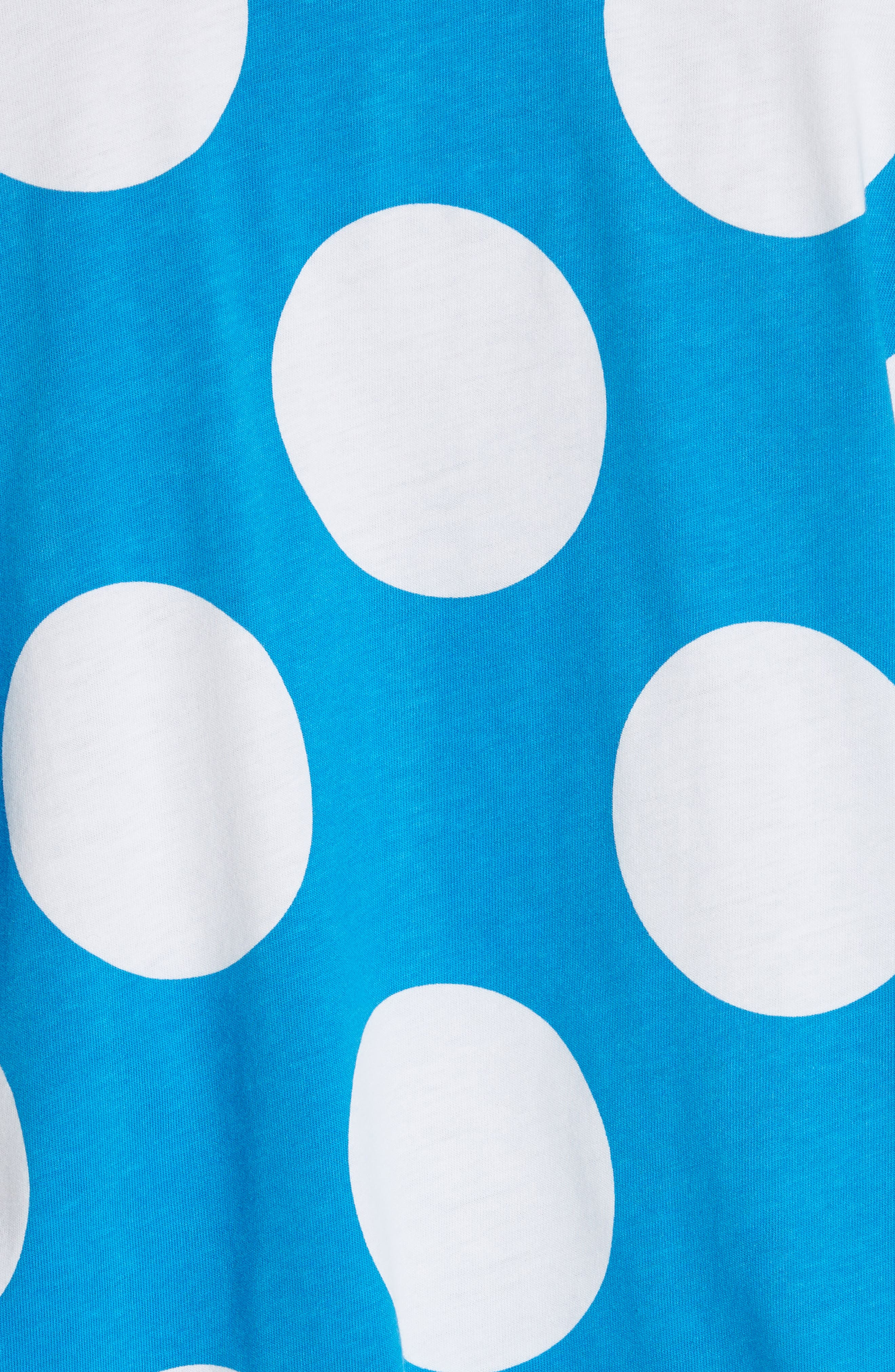 MOSCHINO, Polka Dot Print Tee, Alternate thumbnail 6, color, BLUE