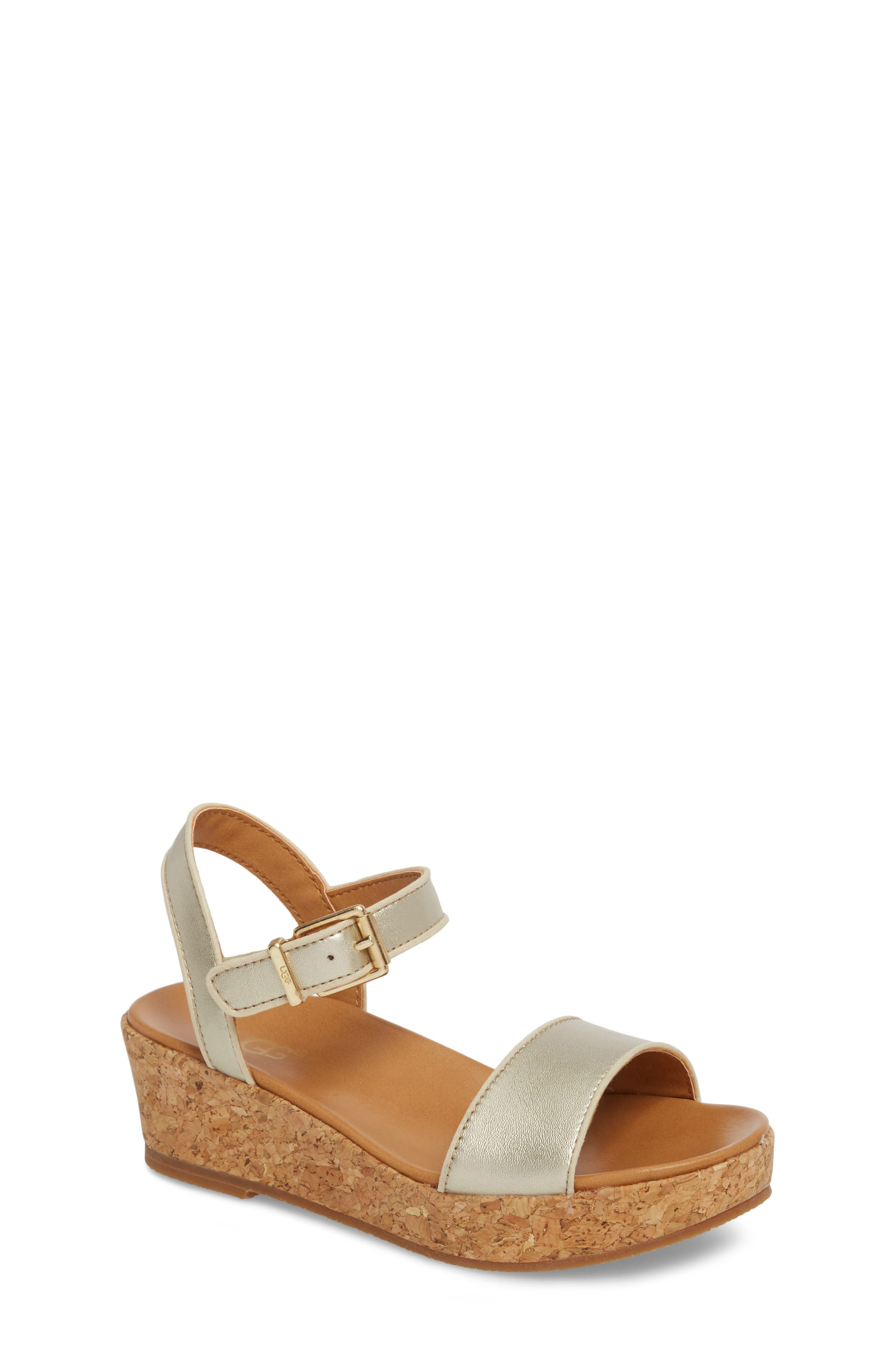 UGG<SUP>®</SUP>, Milley Wedge Sandal, Main thumbnail 1, color, GOLD