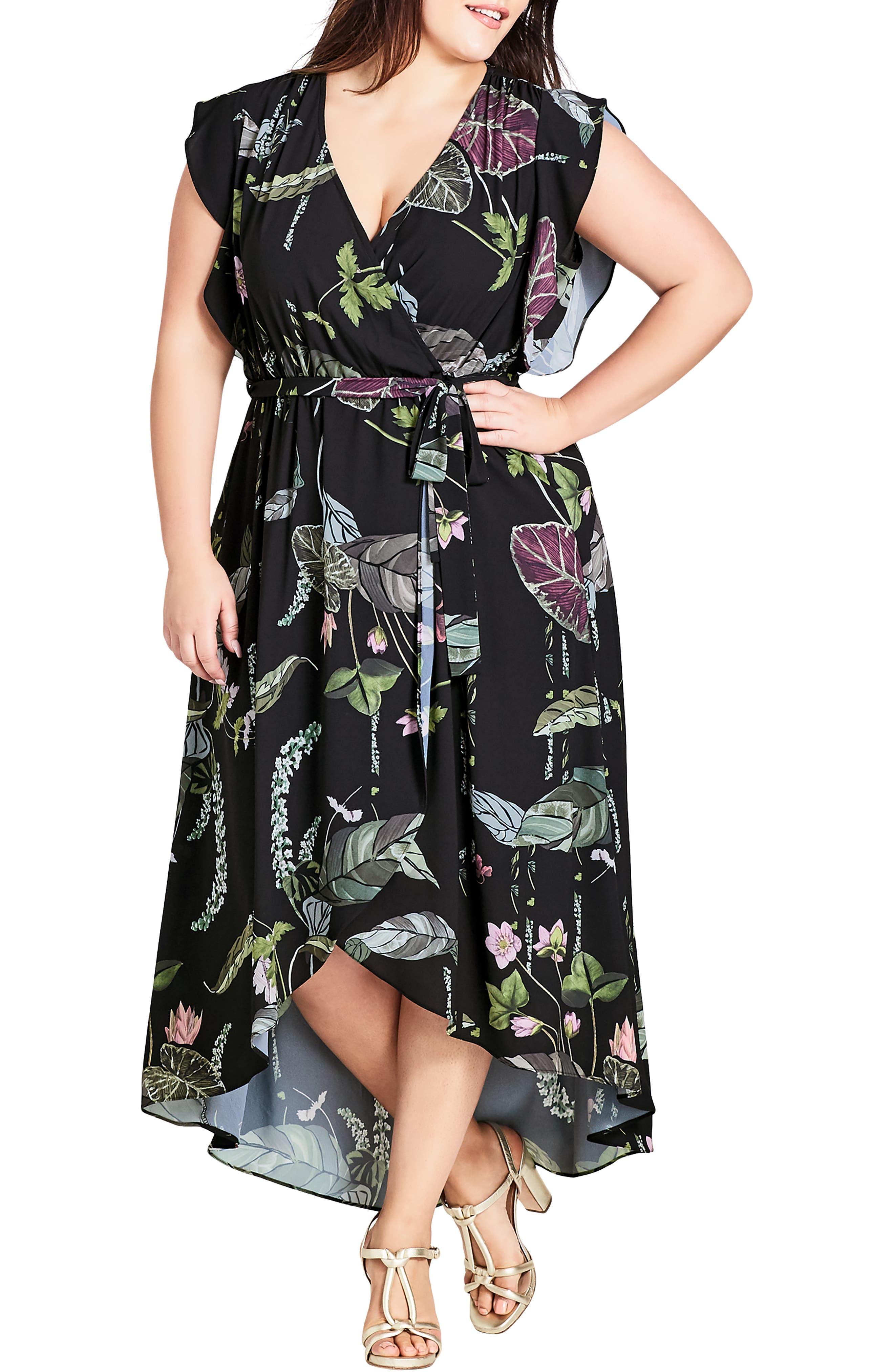 Plus Size City Chic Lily Pad Faux Wrap Maxi Dress, Black