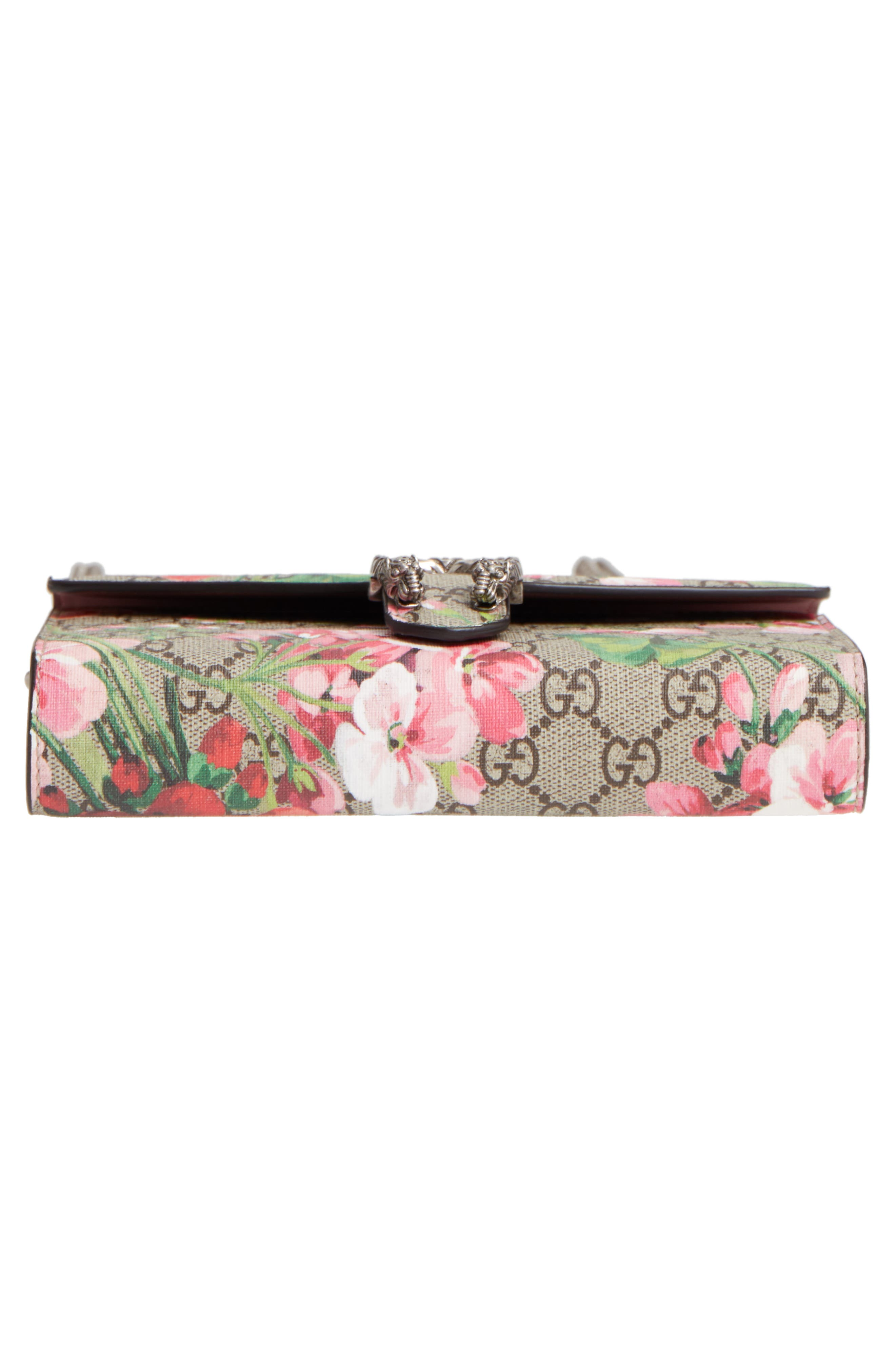 GUCCI, Blooms GG Supreme Canvas Wallet on a Chain, Alternate thumbnail 6, color, BEIGE EBONY/ DRY ROSE