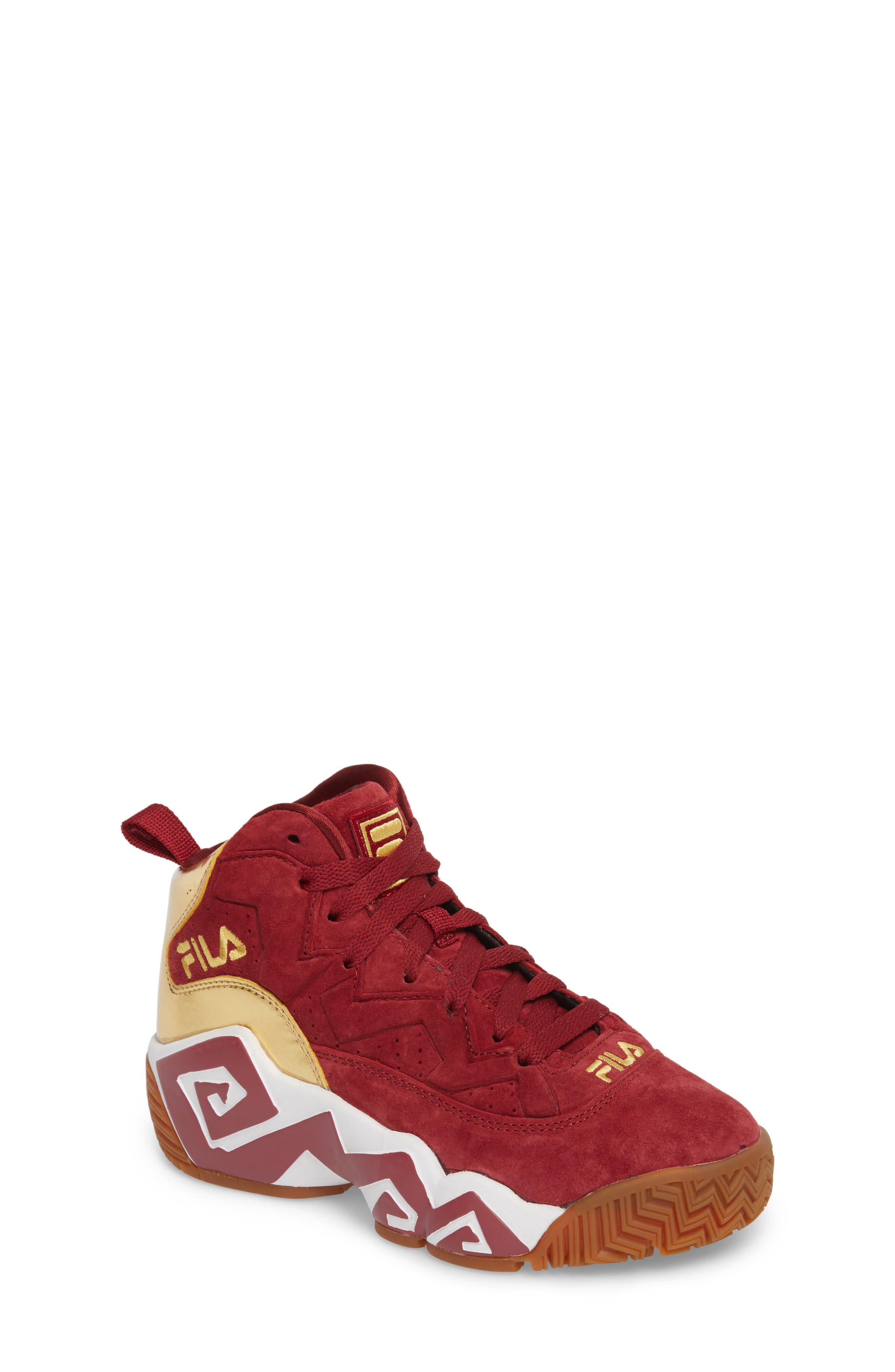 FILA, Heritage Sneaker, Main thumbnail 1, color, BIKING RED/ GOLD/ WHITE
