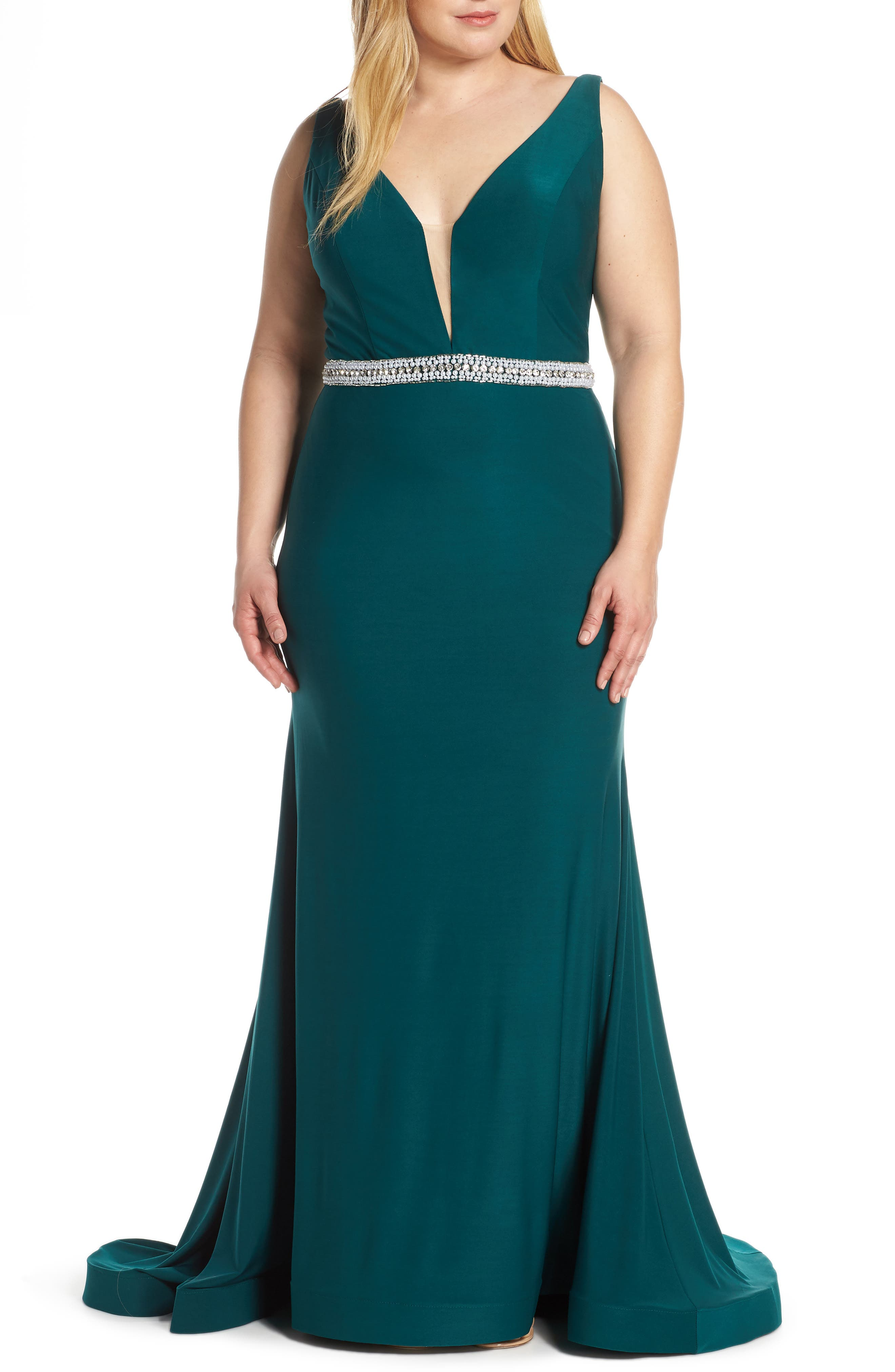 Plus Size MAC Duggal Plunging V-Neck Jeweled Waist Jersey Gown, Green