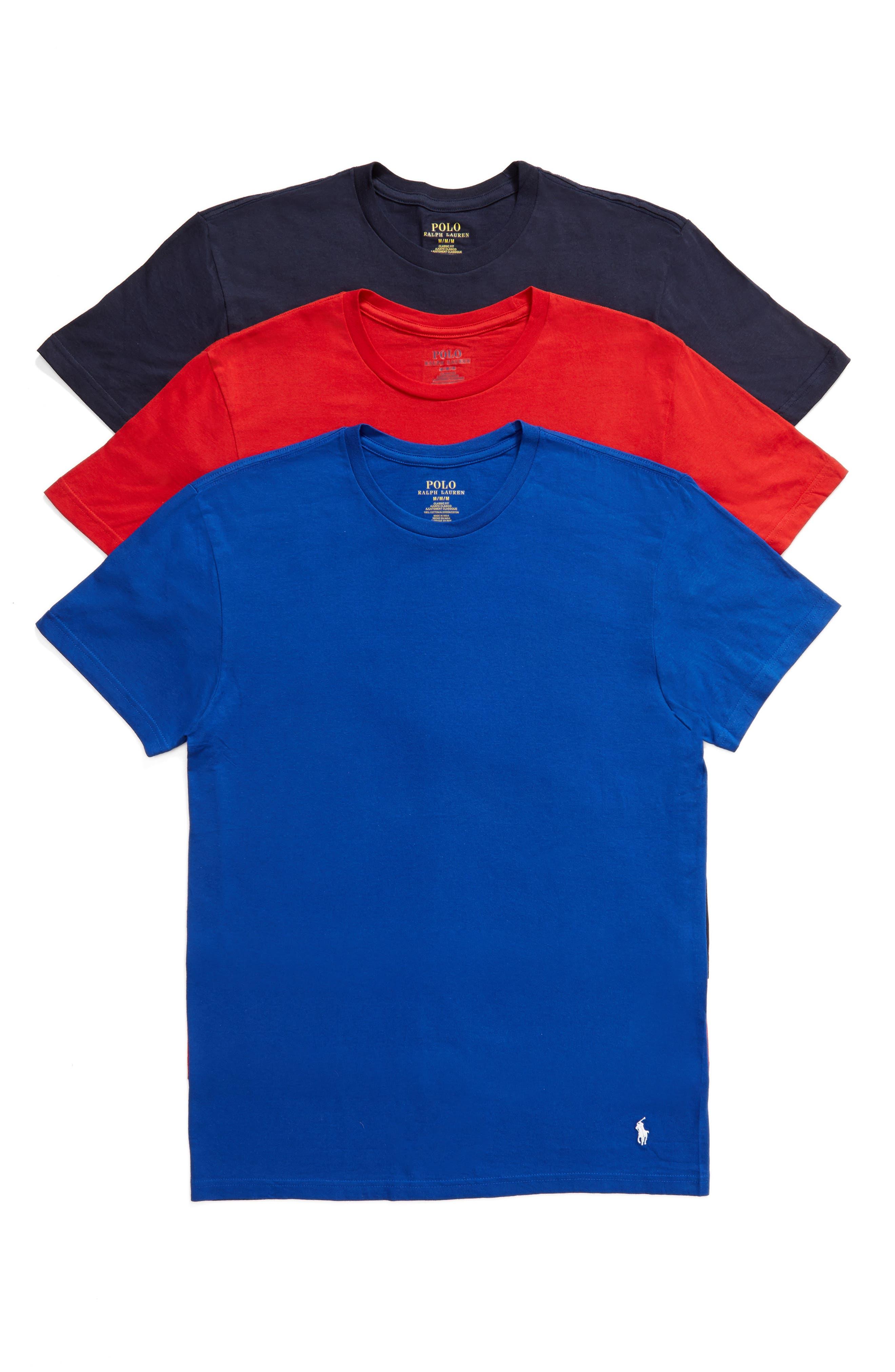 POLO RALPH LAUREN, 3-Pack Crewneck T-Shirts, Main thumbnail 1, color, CRUISE ROYAL/ RED/ CRUISE NAVY