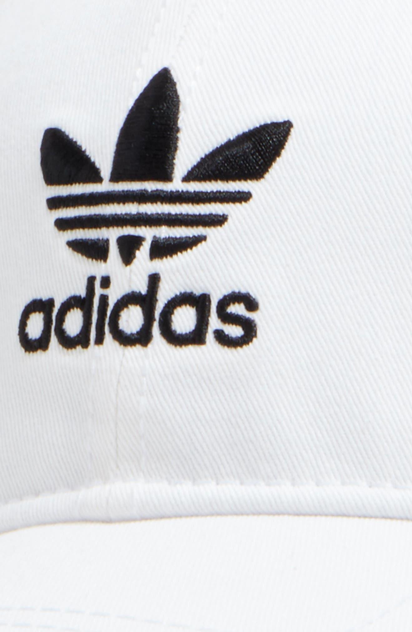 ADIDAS, Trefoil Baseball Cap, Alternate thumbnail 3, color, WHITE